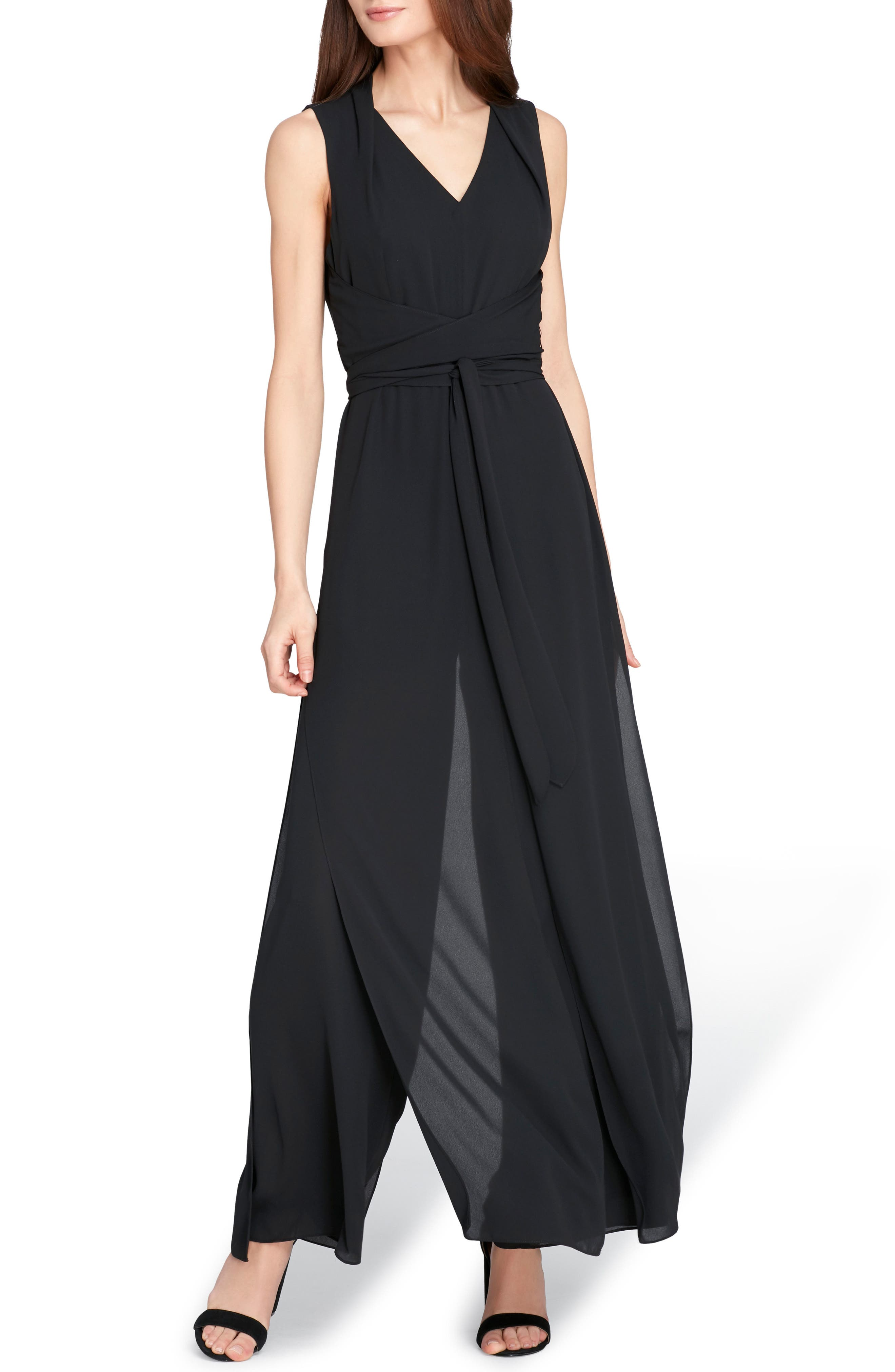 Sleeveless Chiffon Carwash Jumpsuit,                         Main,                         color, Black