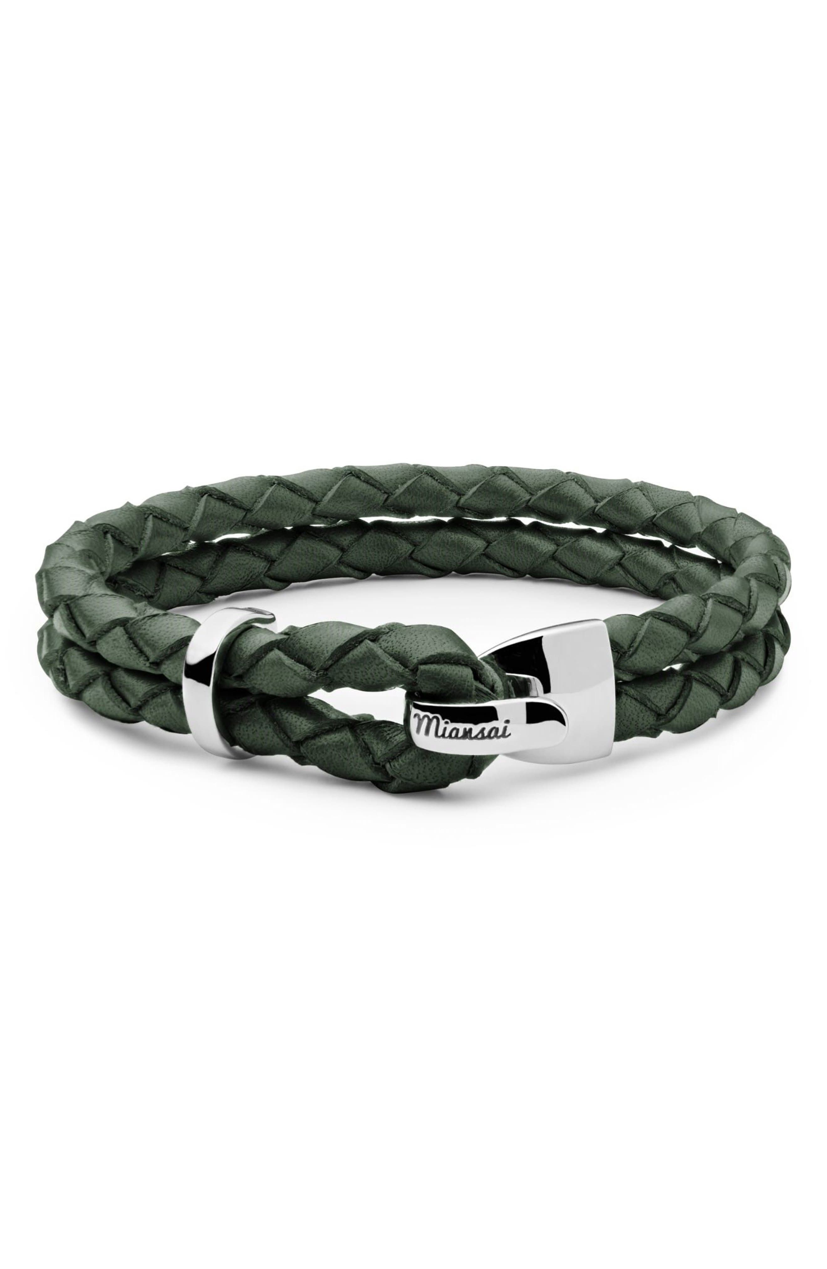 Beacon Braided Leather Bracelet,                         Main,                         color, Hunter Green