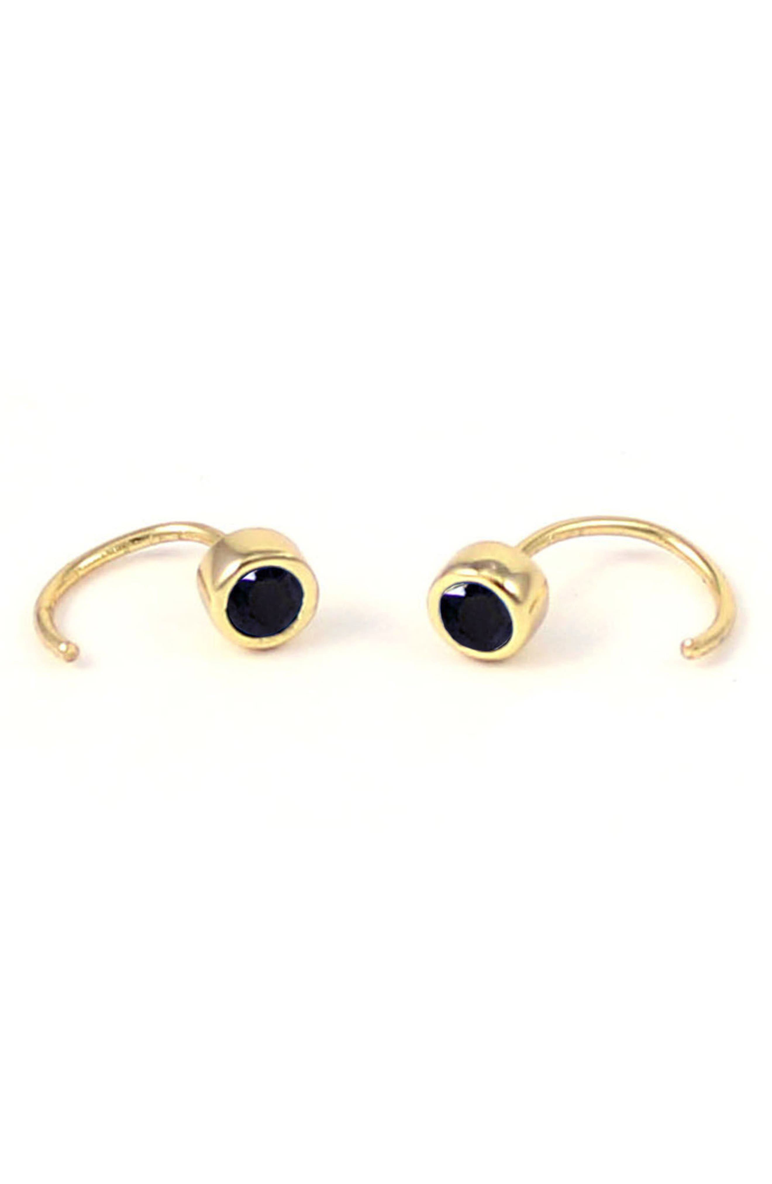 Tiny Stone Hoop Earrings,                         Main,                         color, Gold Black