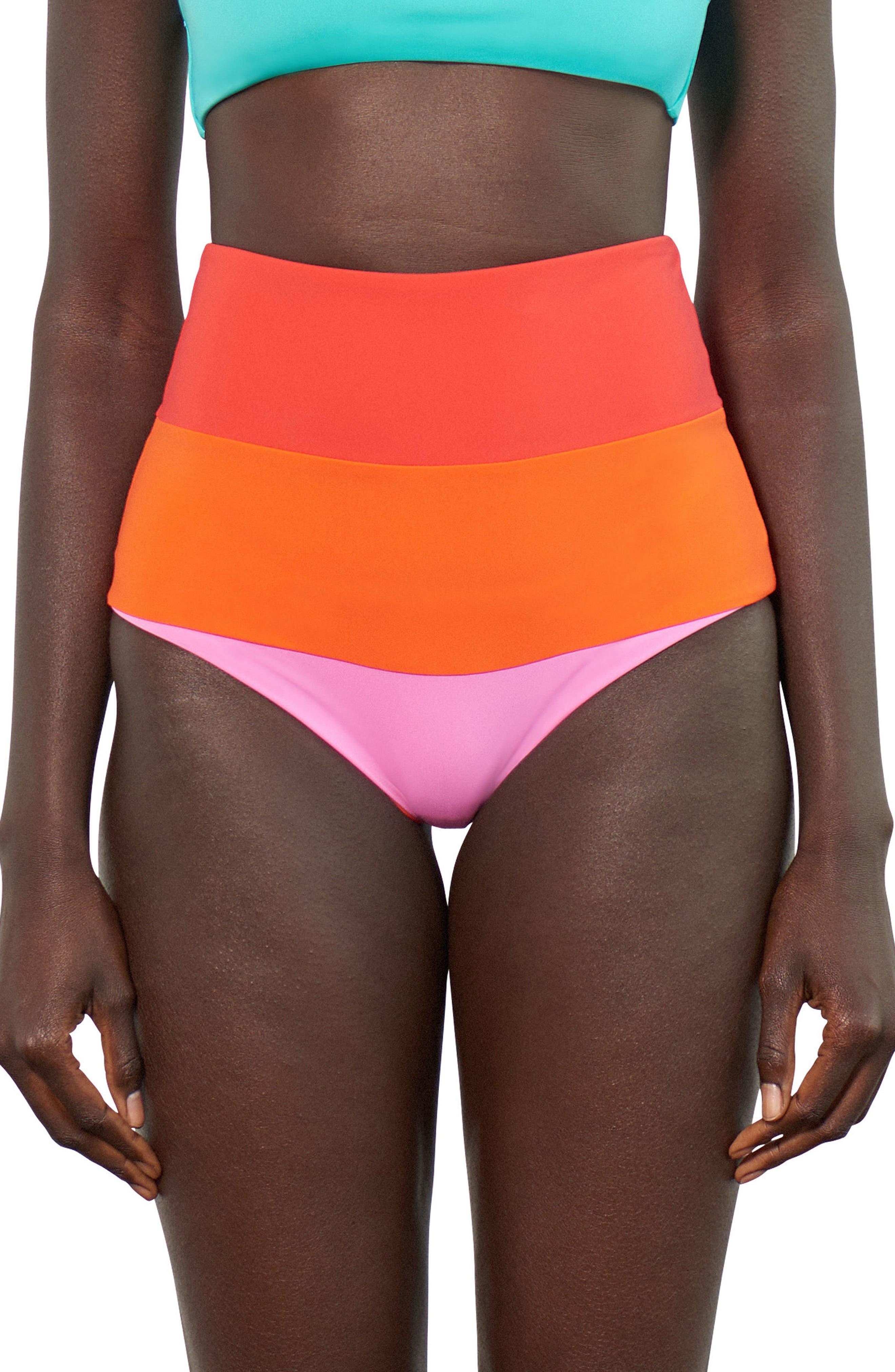 Lydia High-Waist Bikini Bottoms,                         Main,                         color, Orange Multi