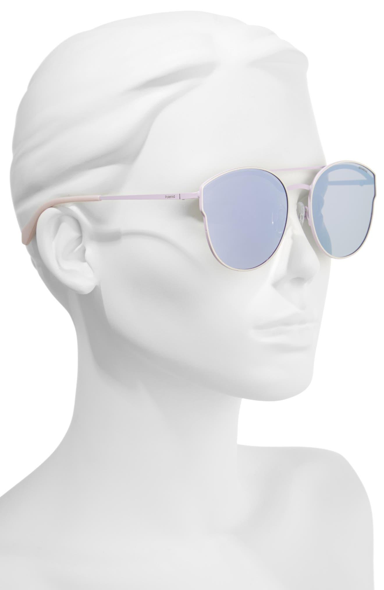 60mm Polarized Round Aviator Sunglasses,                             Alternate thumbnail 3, color,                             Light Gold