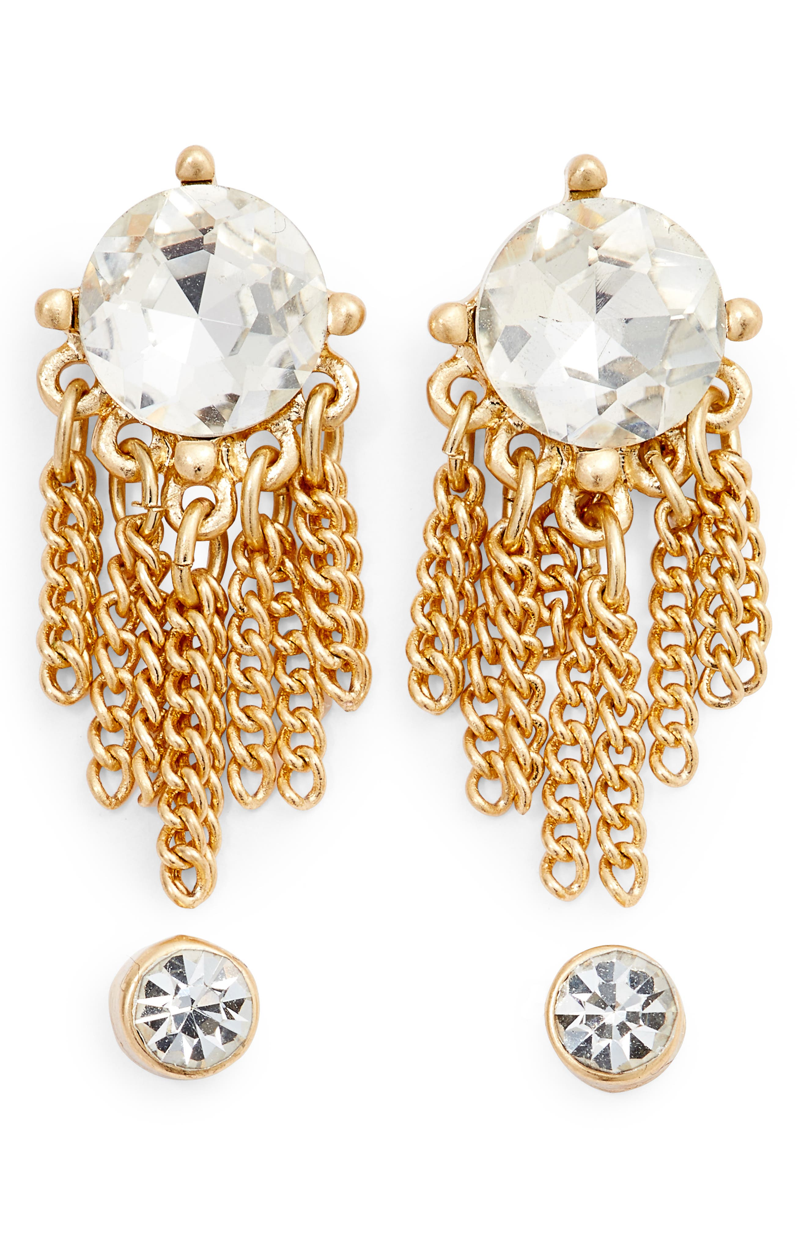 Set of Crystal Drop & Stud Earrings,                         Main,                         color, Clear- Gold