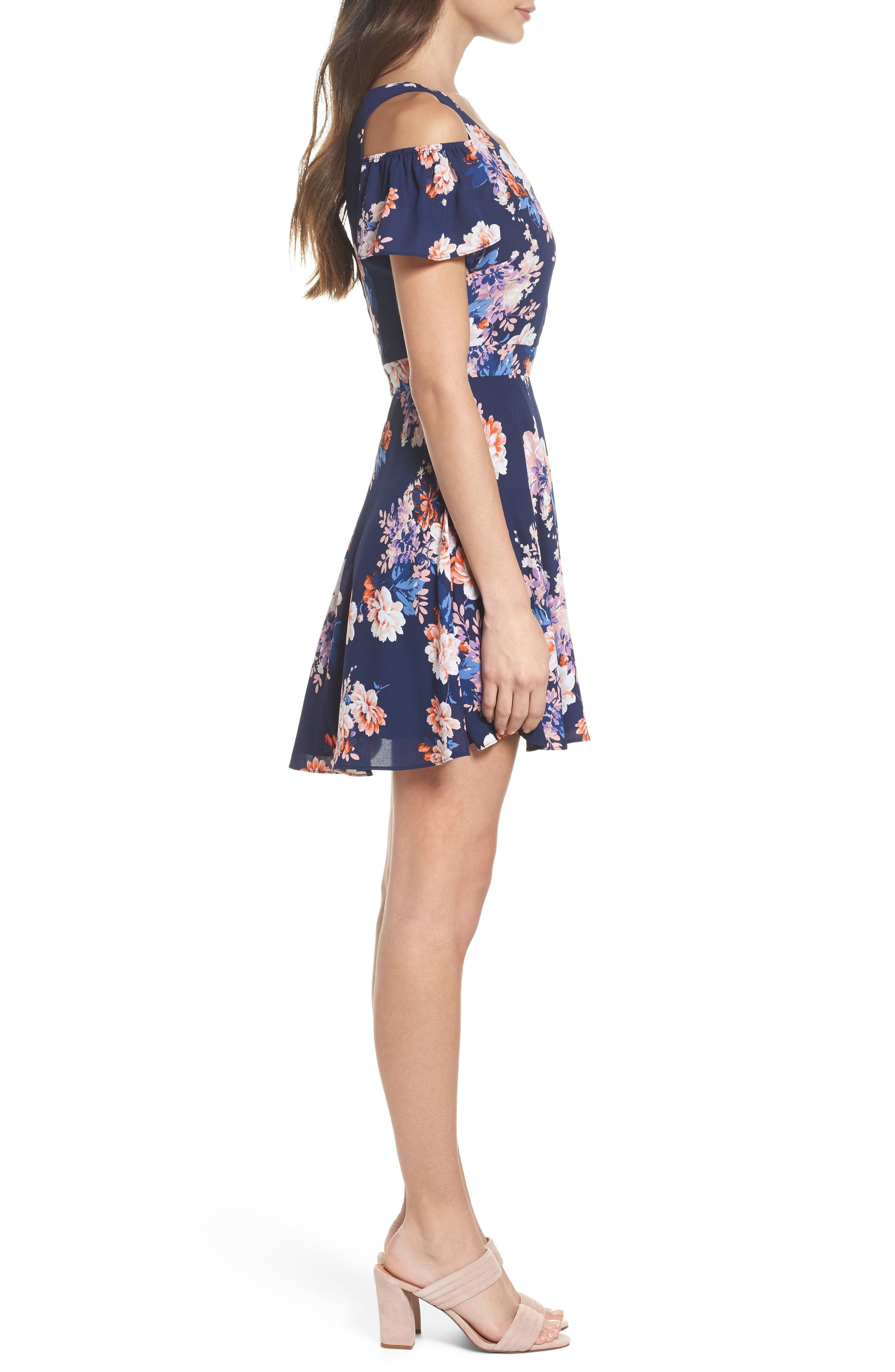 Chasing Butterflies Cold Shoulder Fit & Flare Dress,                             Alternate thumbnail 4, color,                             Navy Floral