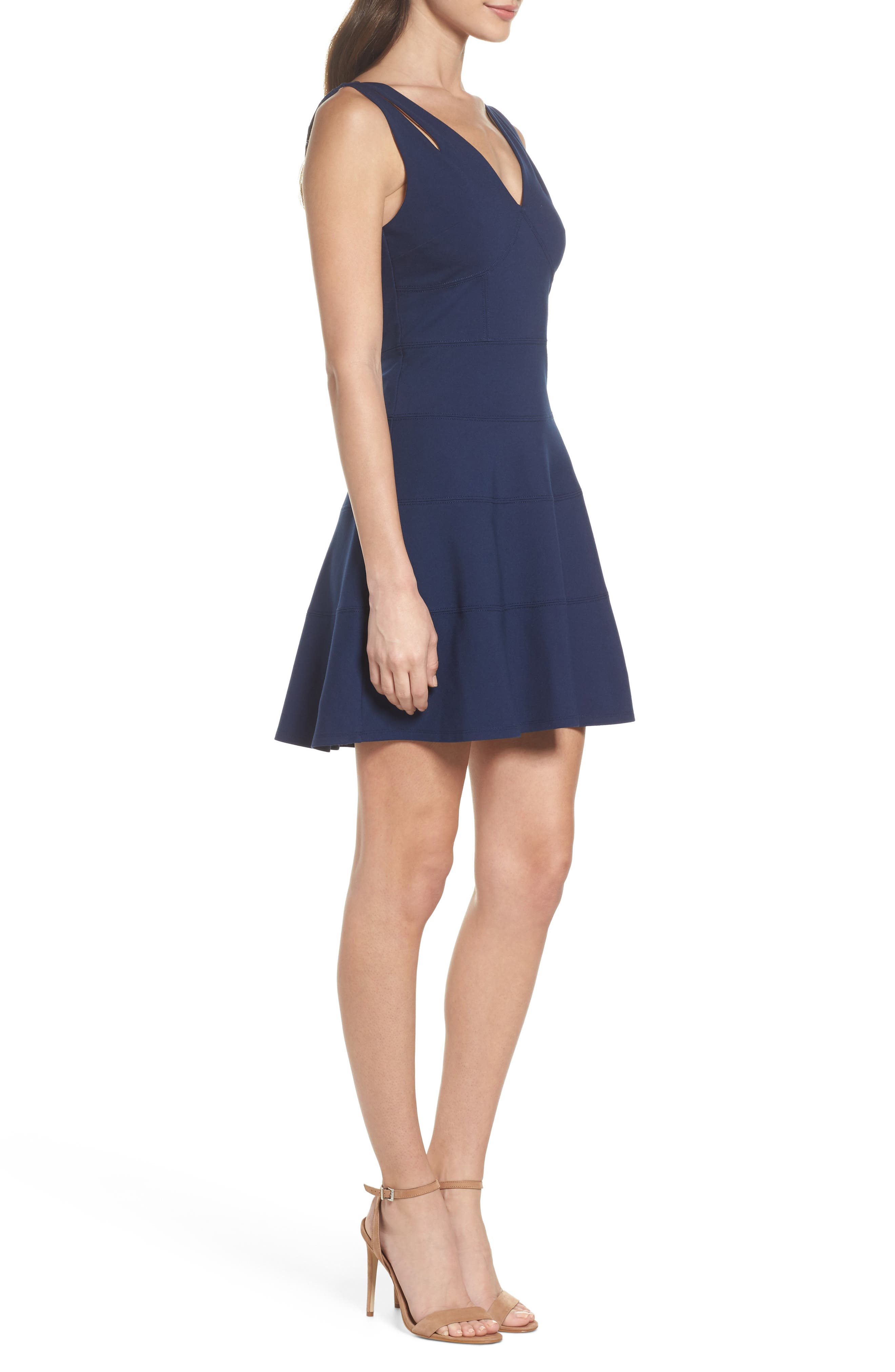 Lace Back Fit & Flare Dress,                             Alternate thumbnail 4, color,                             Navy