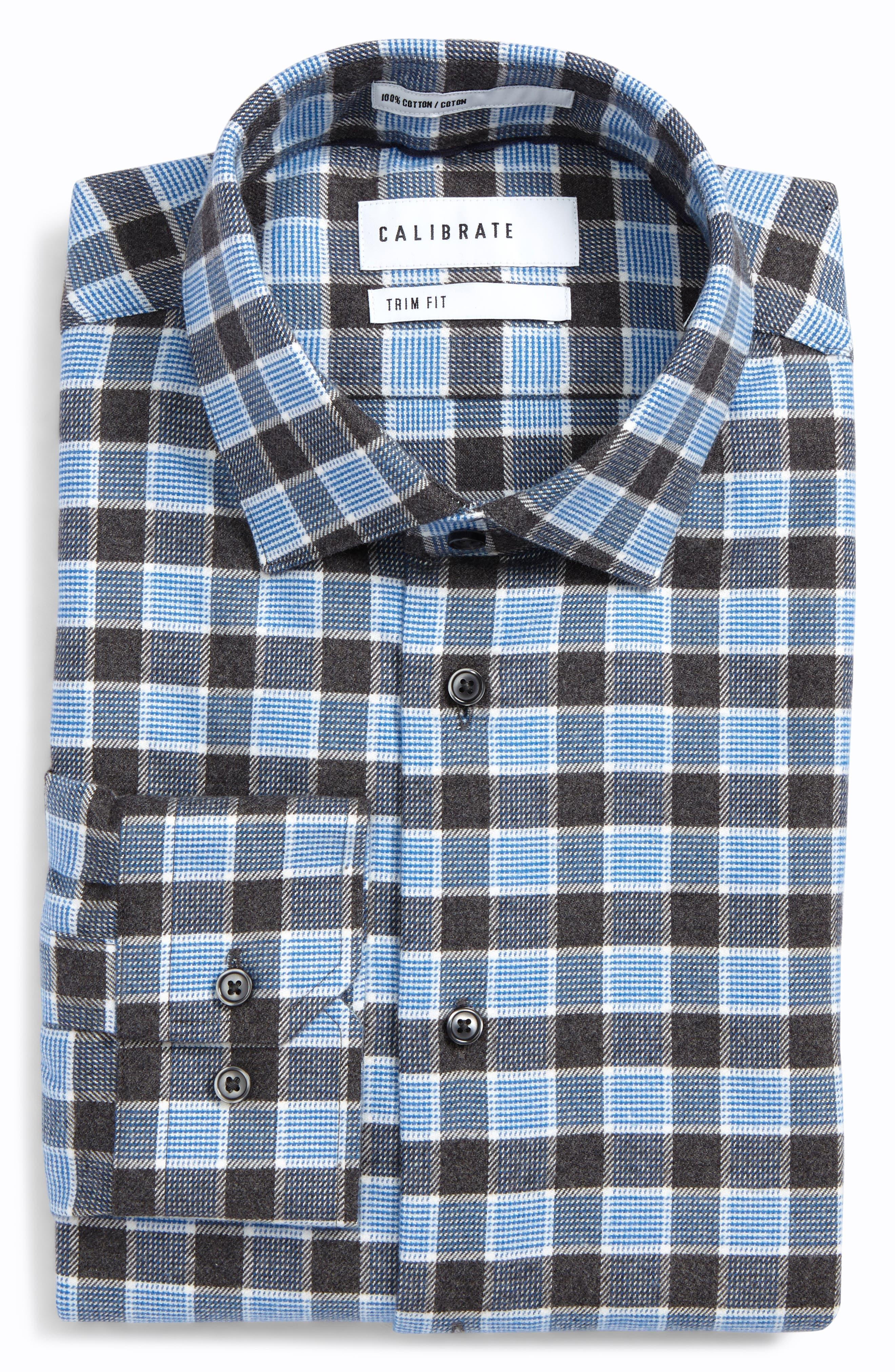 Trim Fit Non-Iron Plaid Dress Shirt,                             Main thumbnail 1, color,                             Grey Stonehenge