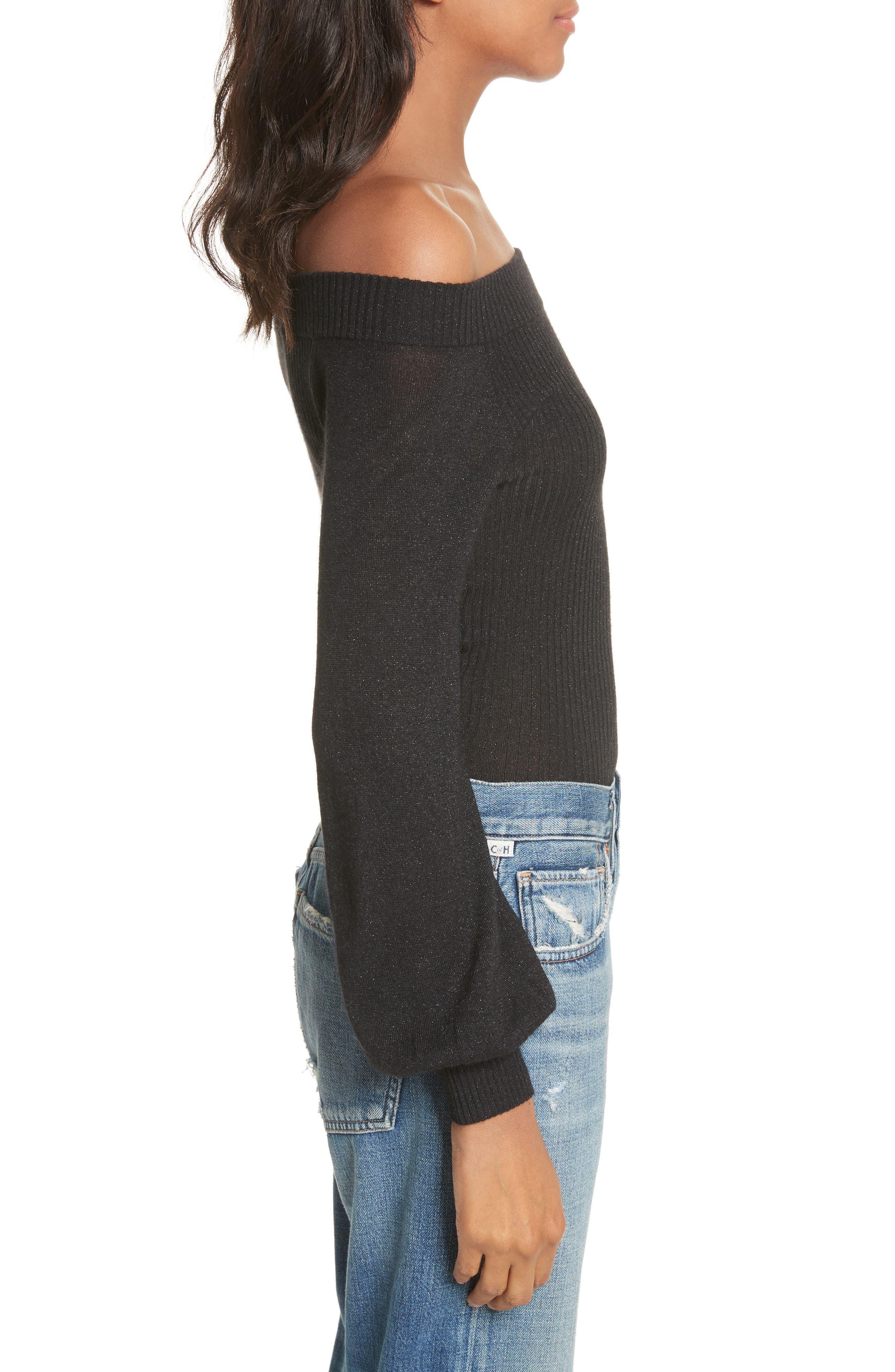 Alternate Image 4  - autumn cashmere Metallic Cashmere & Silk Blend Off the Shoulder Top
