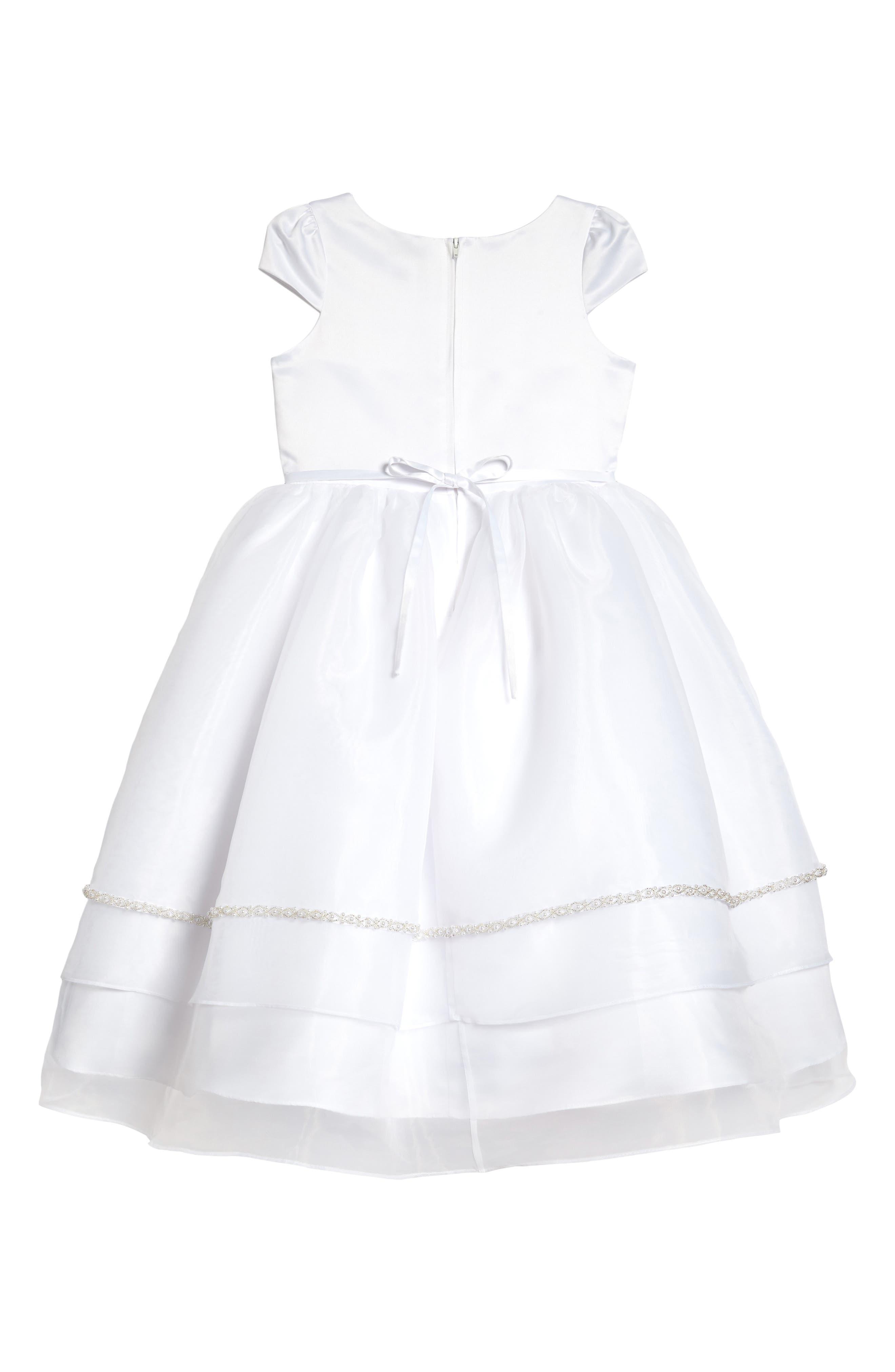 Satin & Organza Dress,                             Alternate thumbnail 2, color,                             White