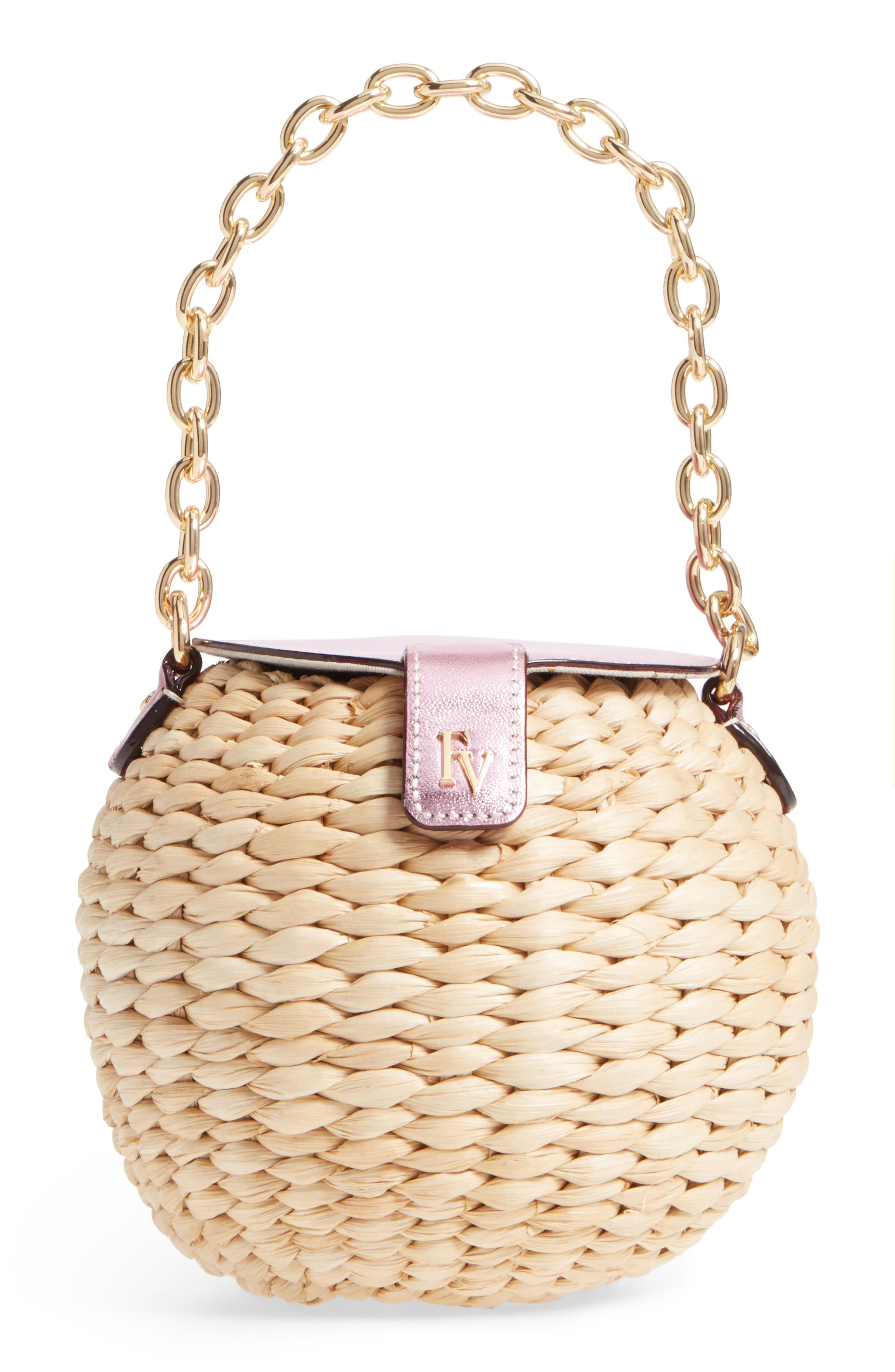 Mini Straw Bucket Bag,                         Main,                         color, Pink