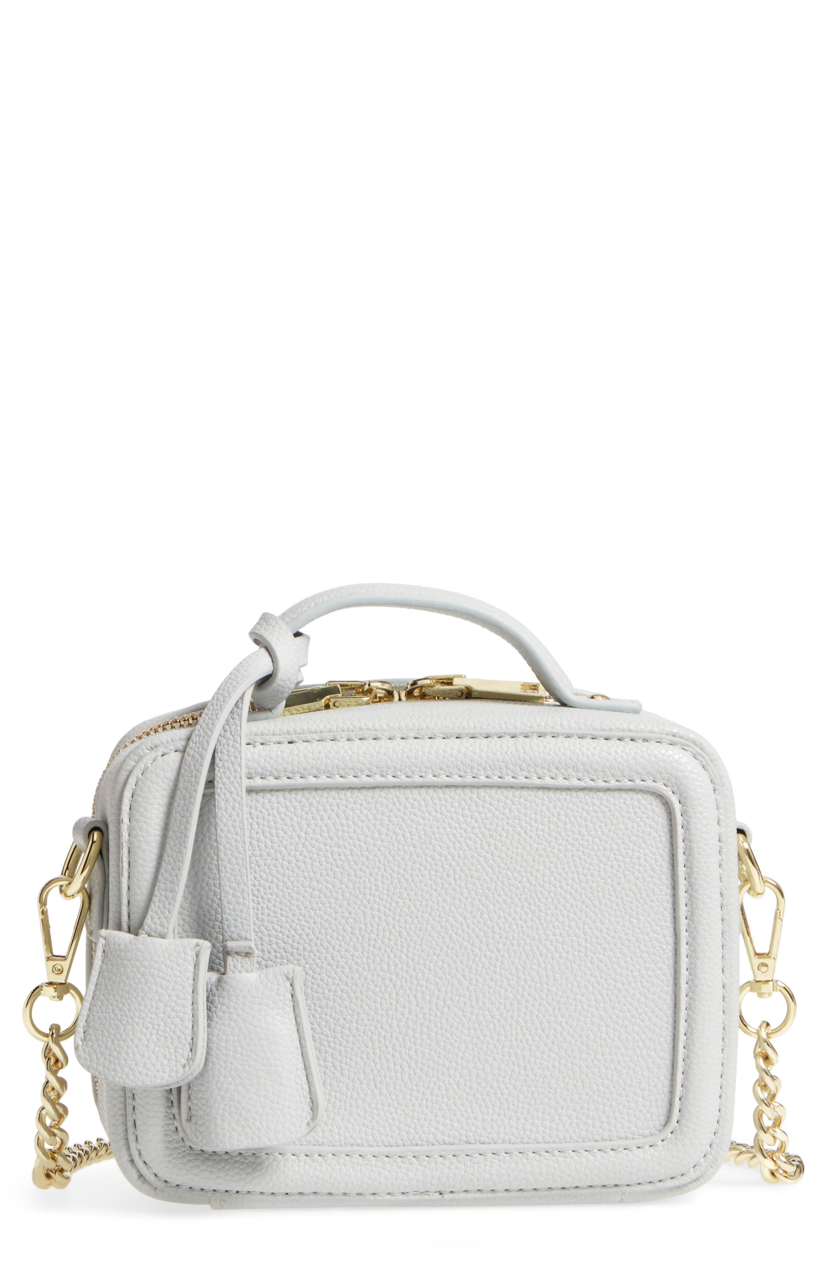 Taylor Faux Leather Crossbody Bag,                             Main thumbnail 1, color,                             Light Grey