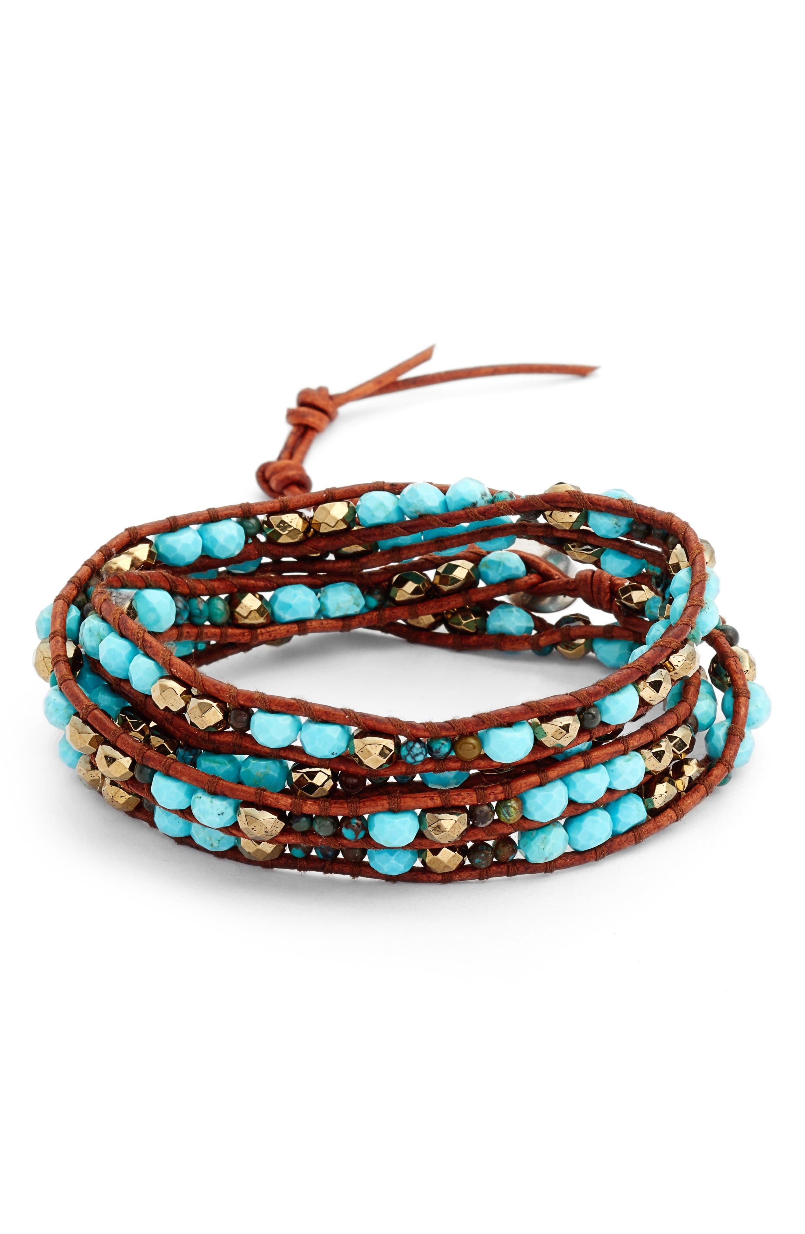 Mixed Semiprecious Stone Wrap Bracelet,                             Main thumbnail 1, color,                             Turquoise Mix