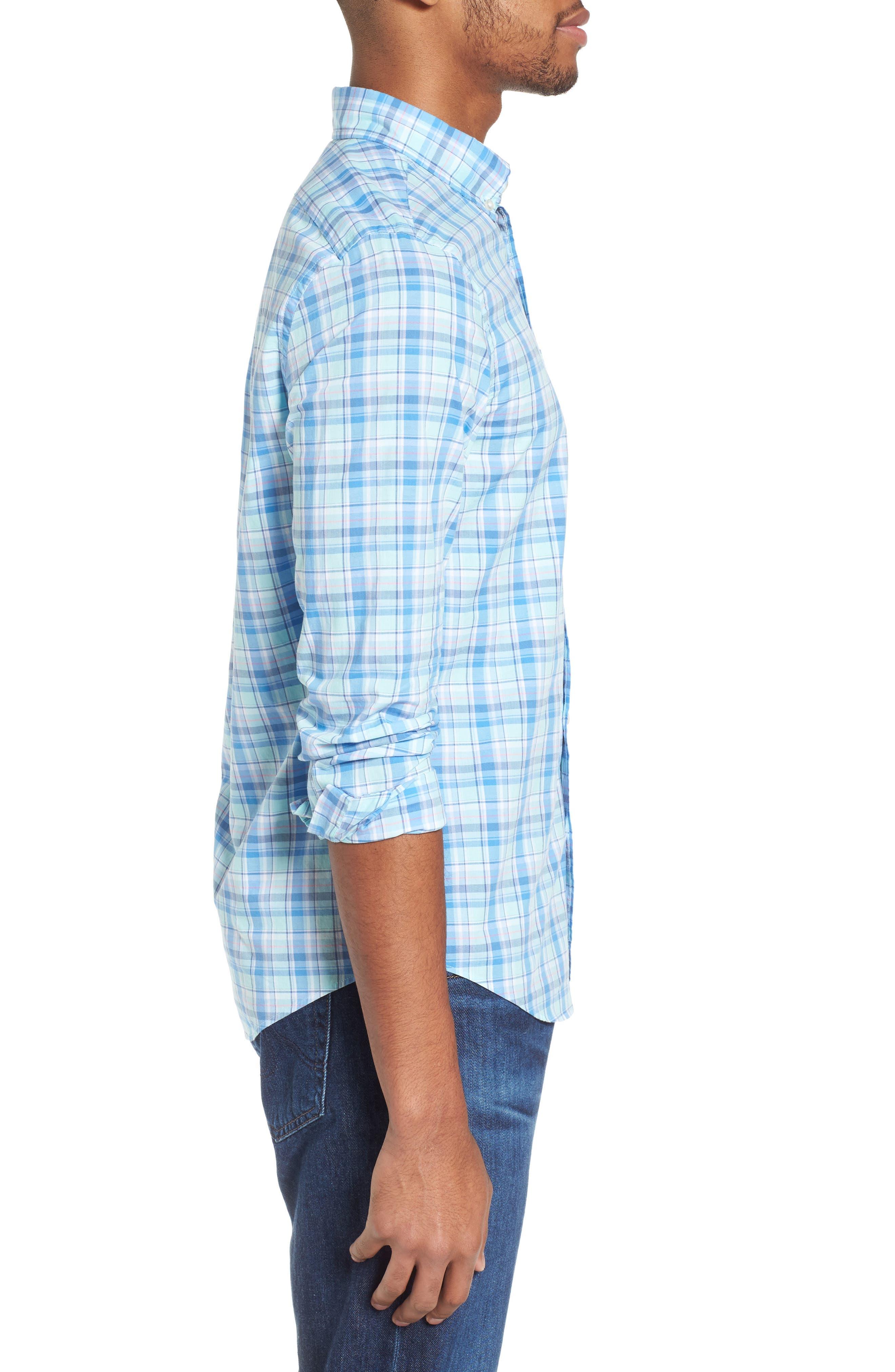 Murray Pine Island Slim Fit Plaid Sport Shirt,                             Alternate thumbnail 3, color,                             Sea Splash