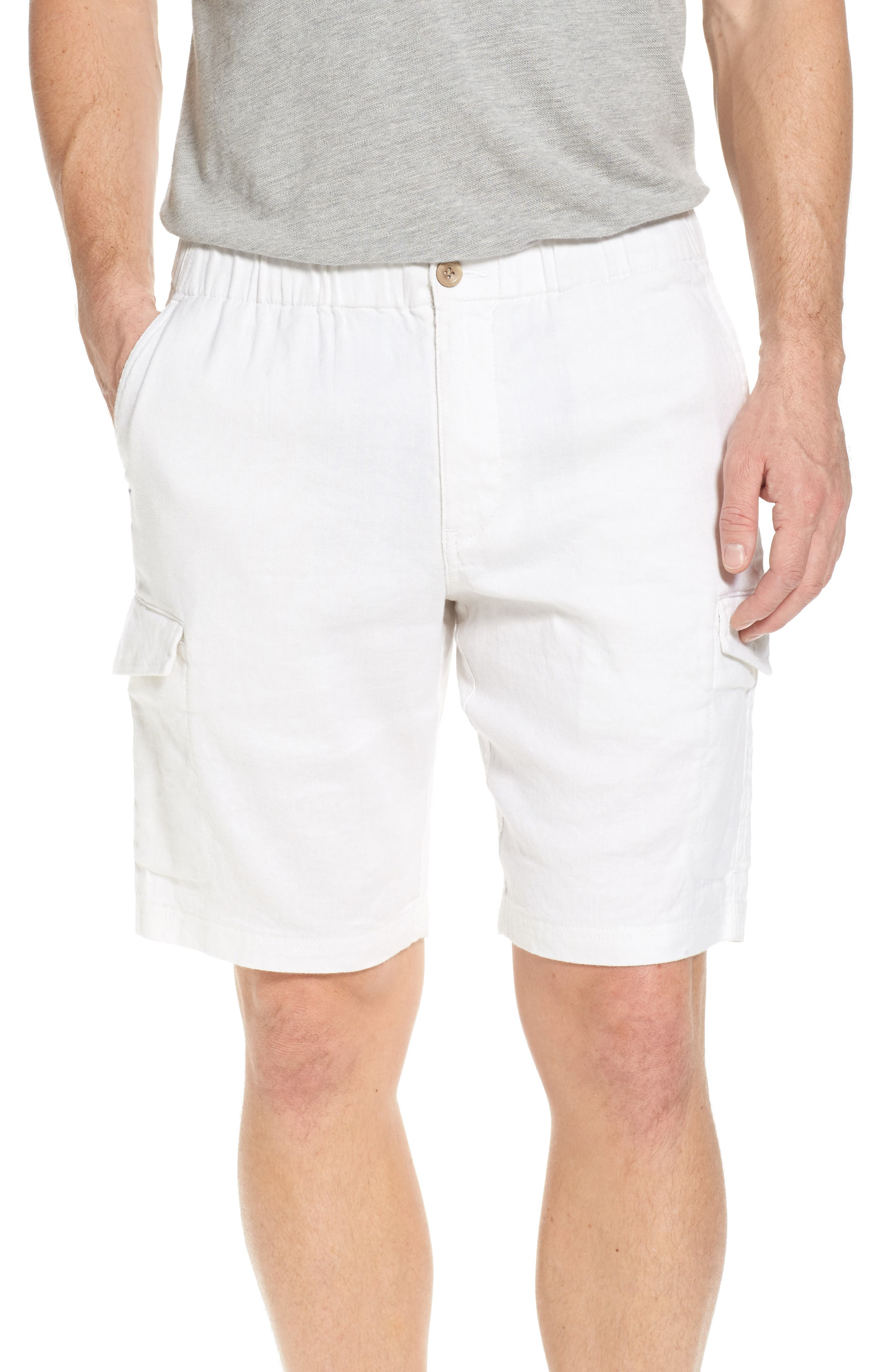 Beach Authentic Fit Linen Blend Cargo Shorts,                         Main,                         color, Continental