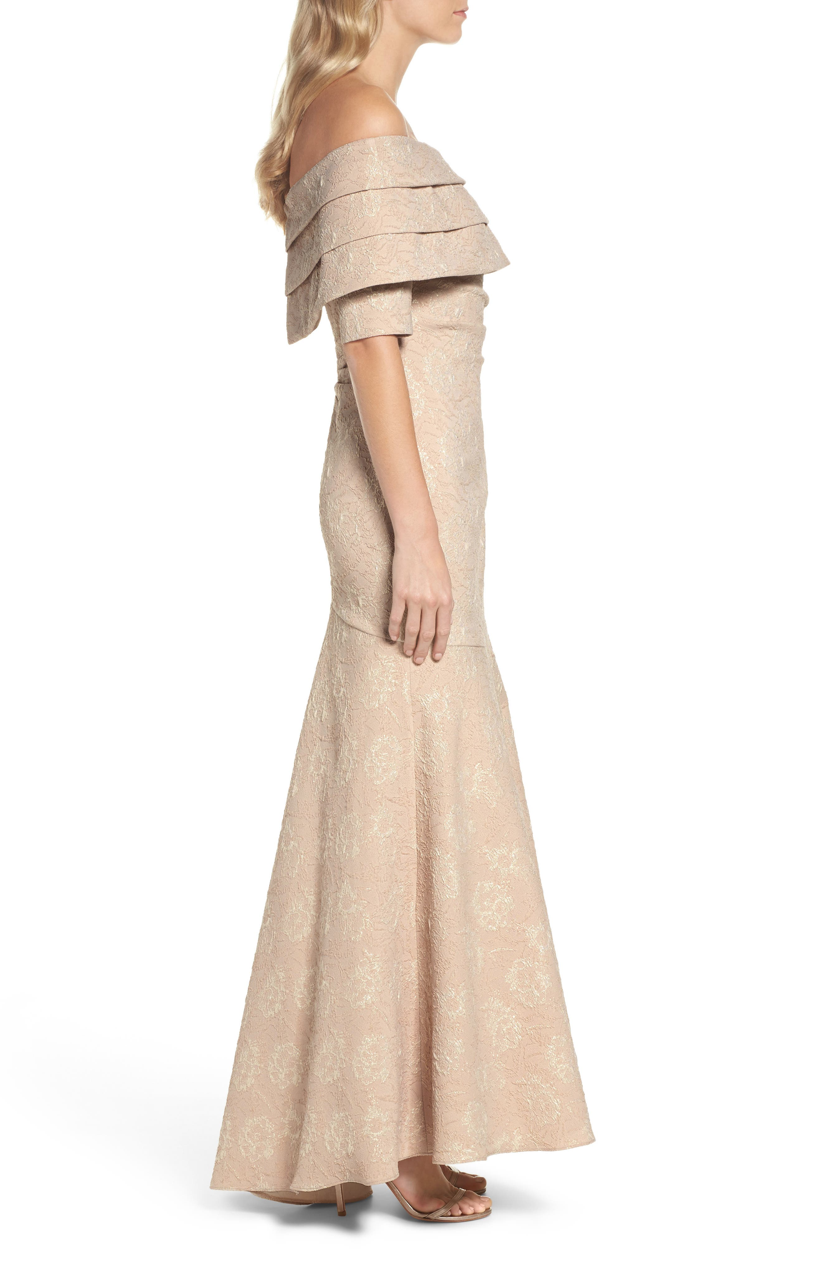 Brocade Off the Shoulder Trumpet Gown,                             Alternate thumbnail 7, color,                             Champagne