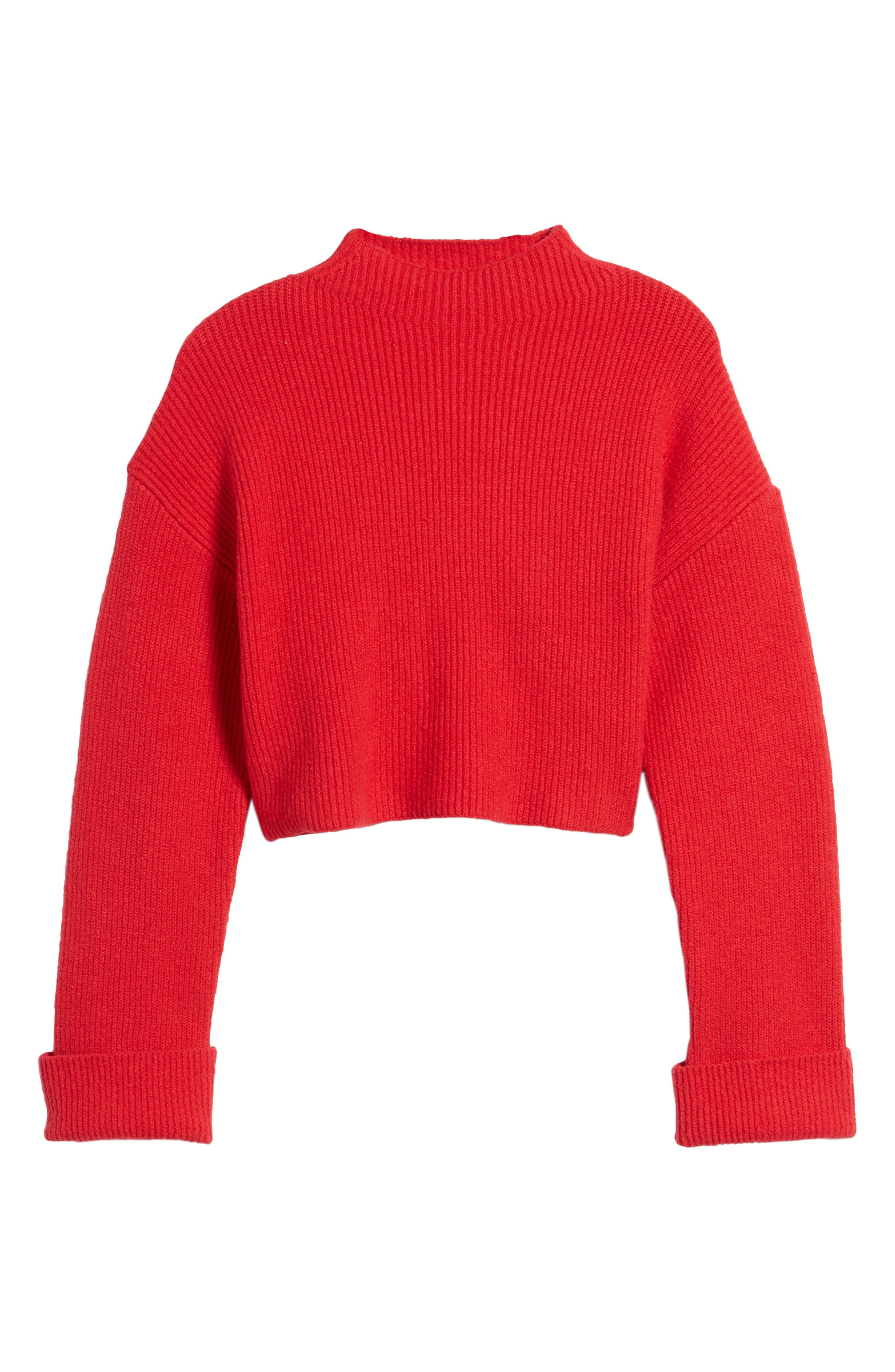 Wide Cuff Mock Neck Sweater,                             Alternate thumbnail 6, color,                             Patriot Red