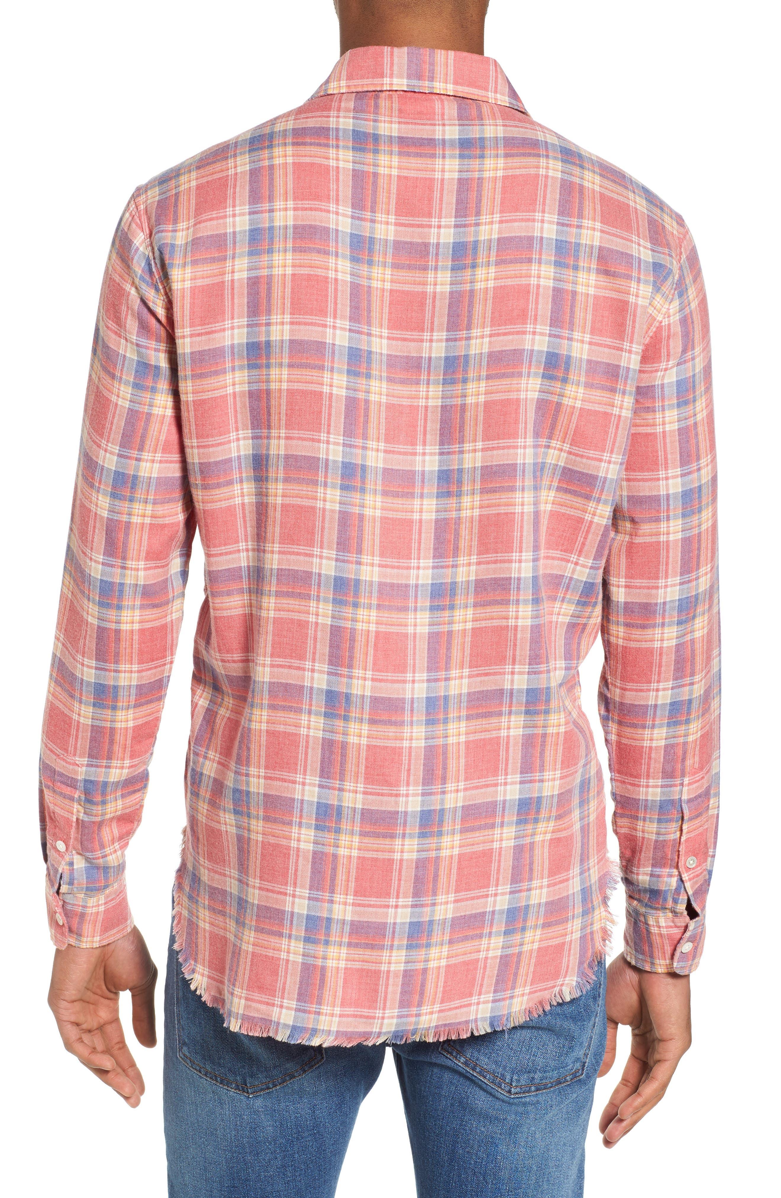 Fray Hem Plaid Flannel Shirt,                             Alternate thumbnail 2, color,                             Dark Pink Check