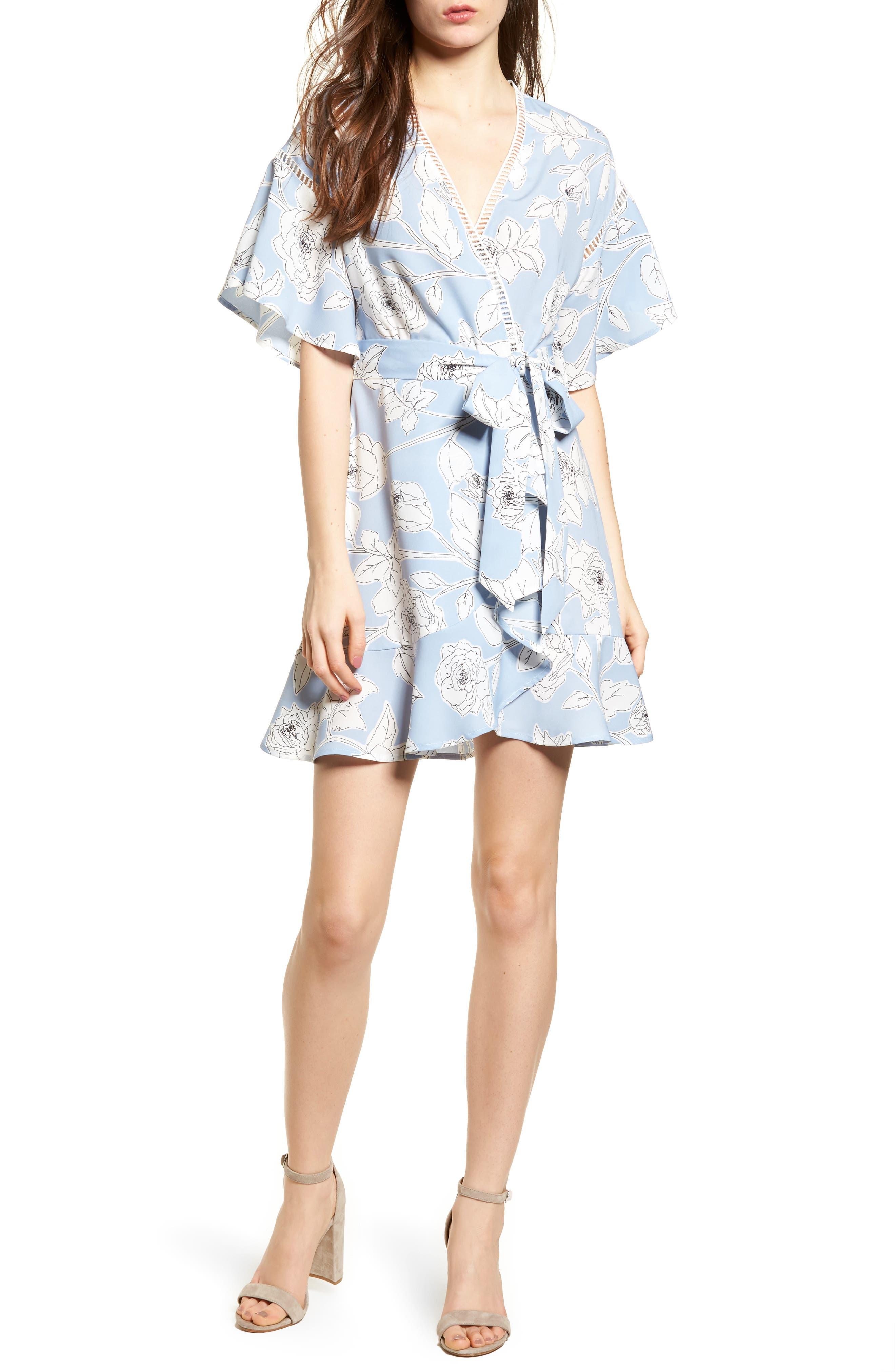 Moon River Floral Print Wrap Dress