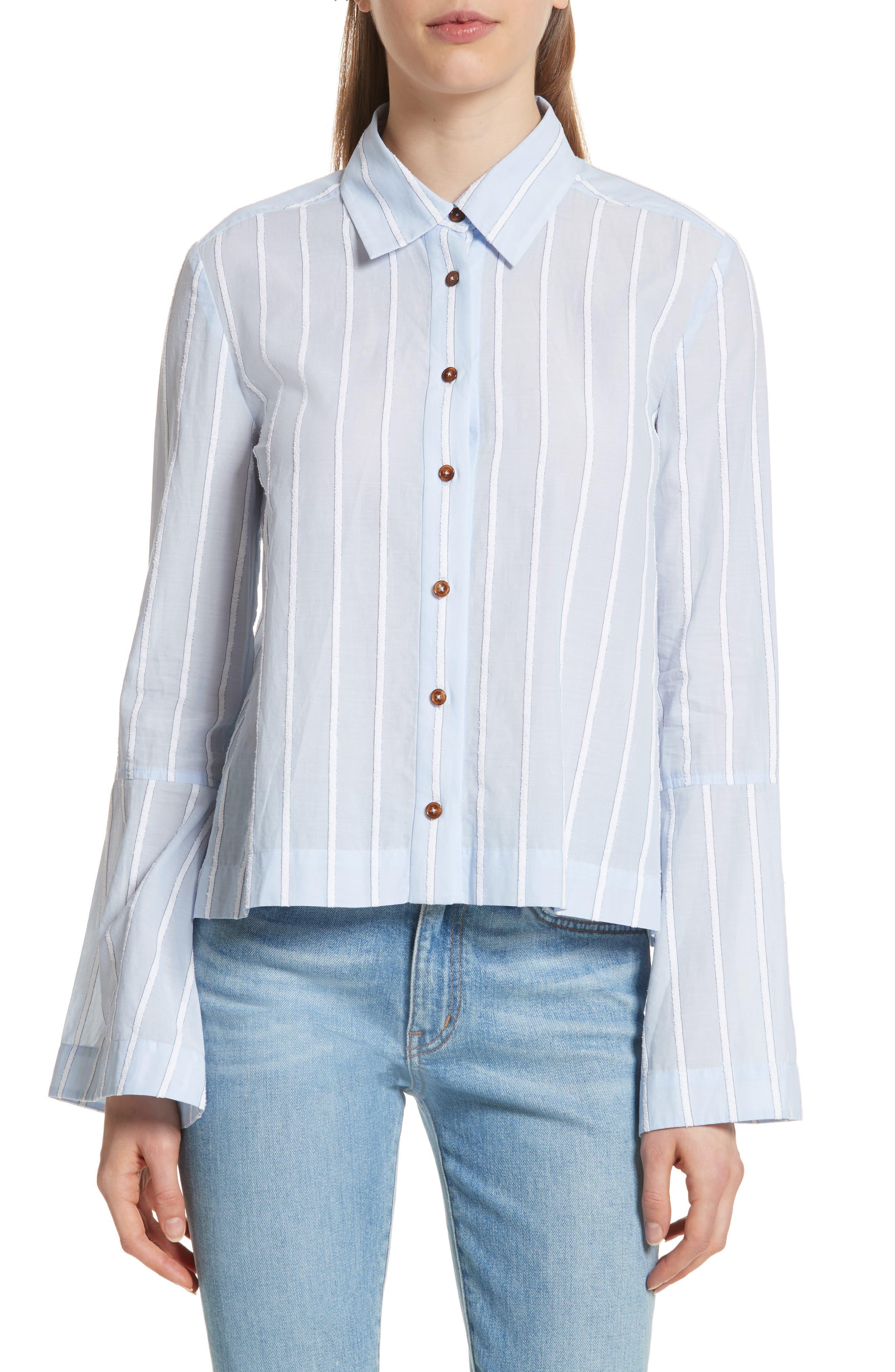 Derek Lam 10 Crosby Bouclé Stripe Shirt