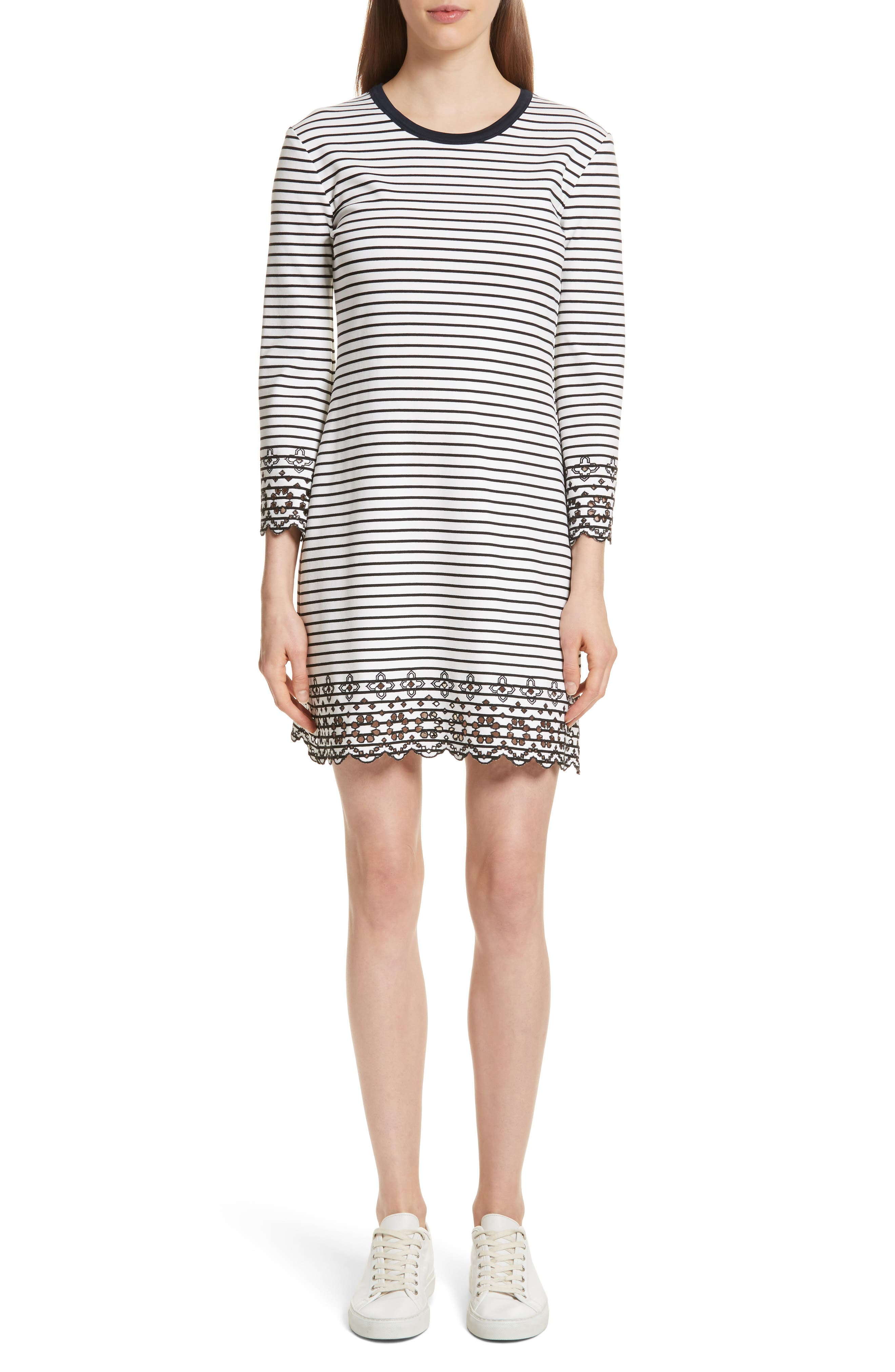 Derek Lam 10 Crosby Embroidered Stripe Knit Dress