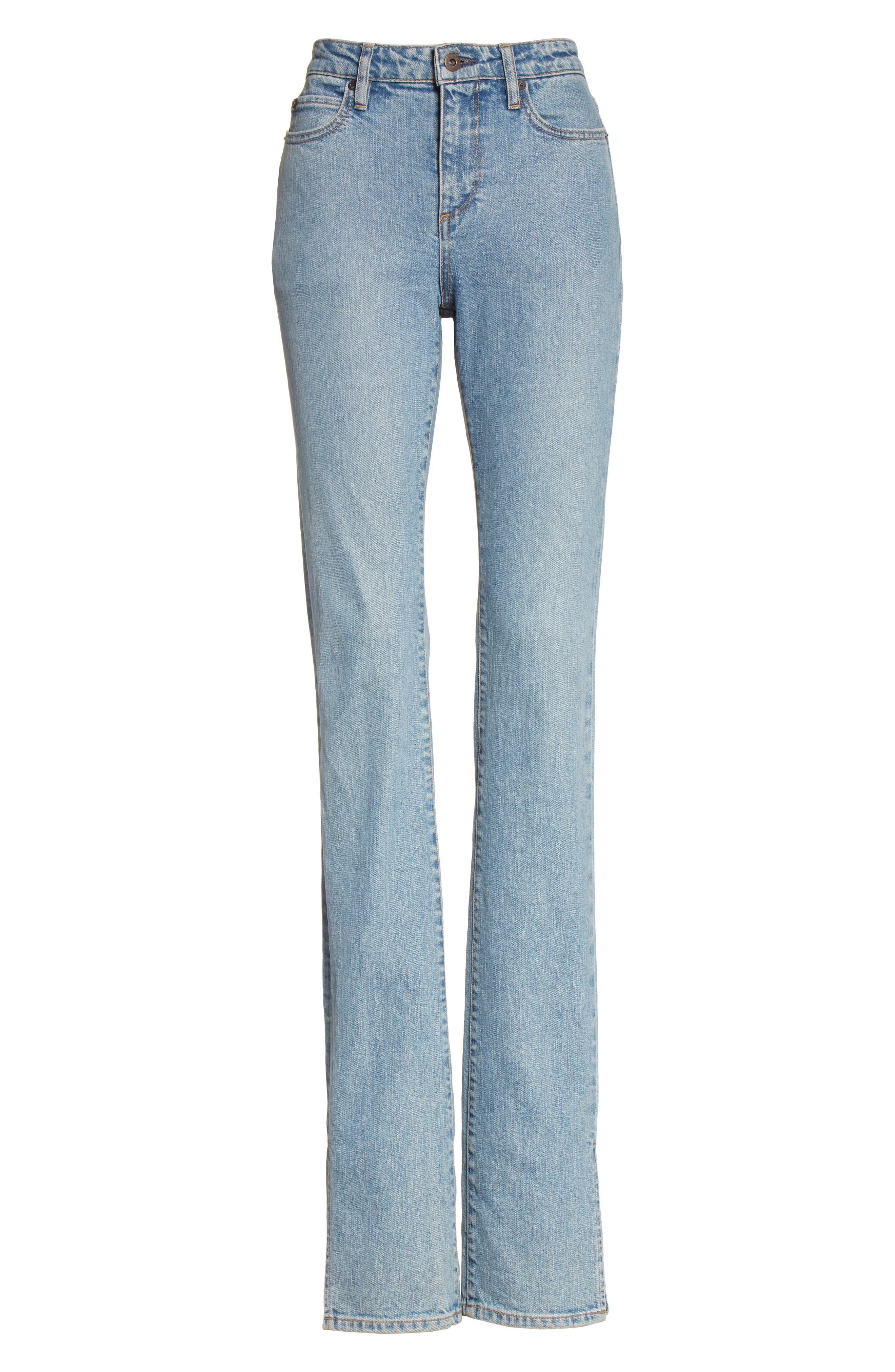 Lowry Split Hem Jeans,                             Alternate thumbnail 4, color,                             Mid Indigo Wash