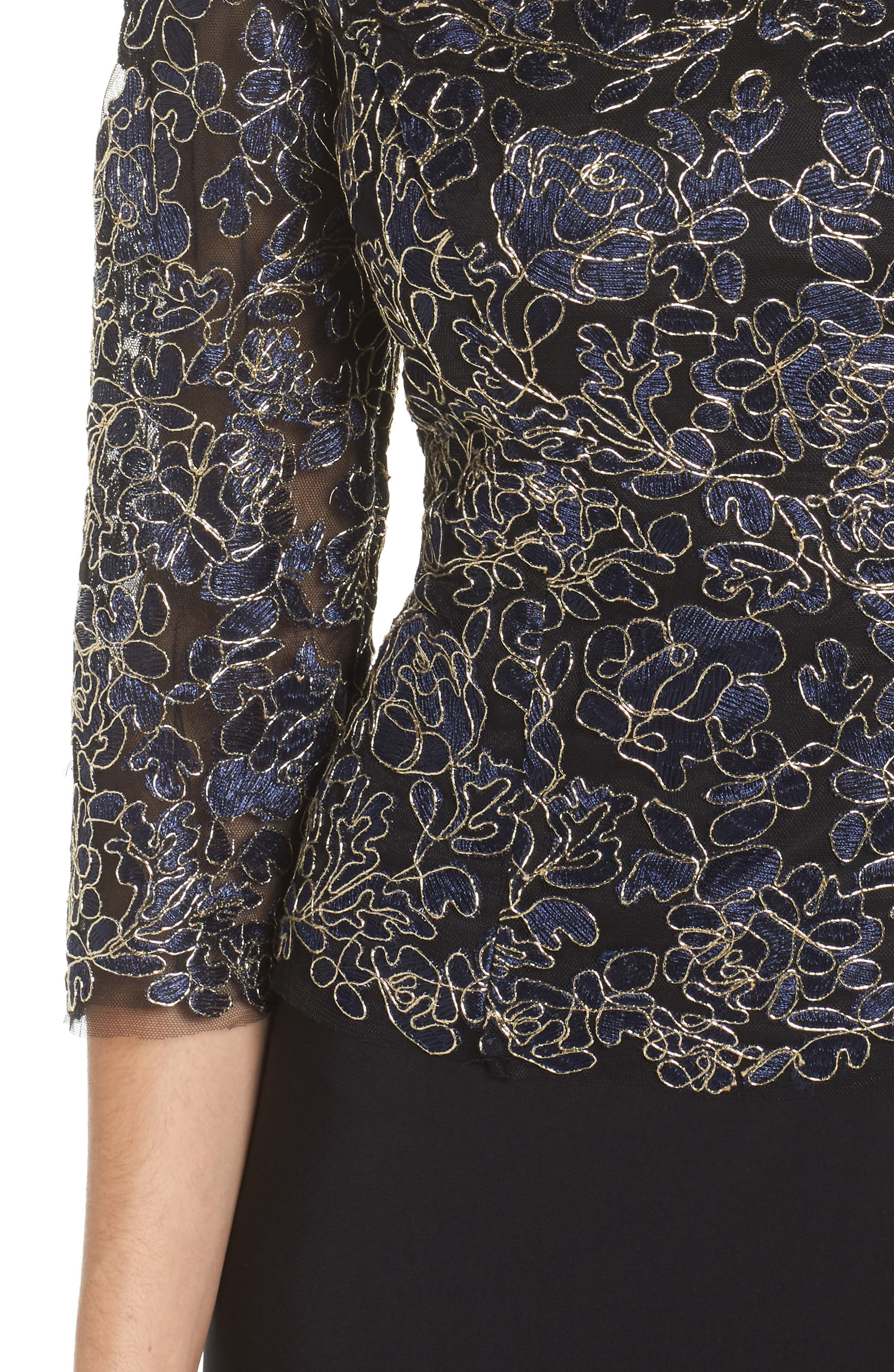 Embroidered Lace Mock Two-Piece Dress,                             Alternate thumbnail 4, color,                             Navy/ Gold