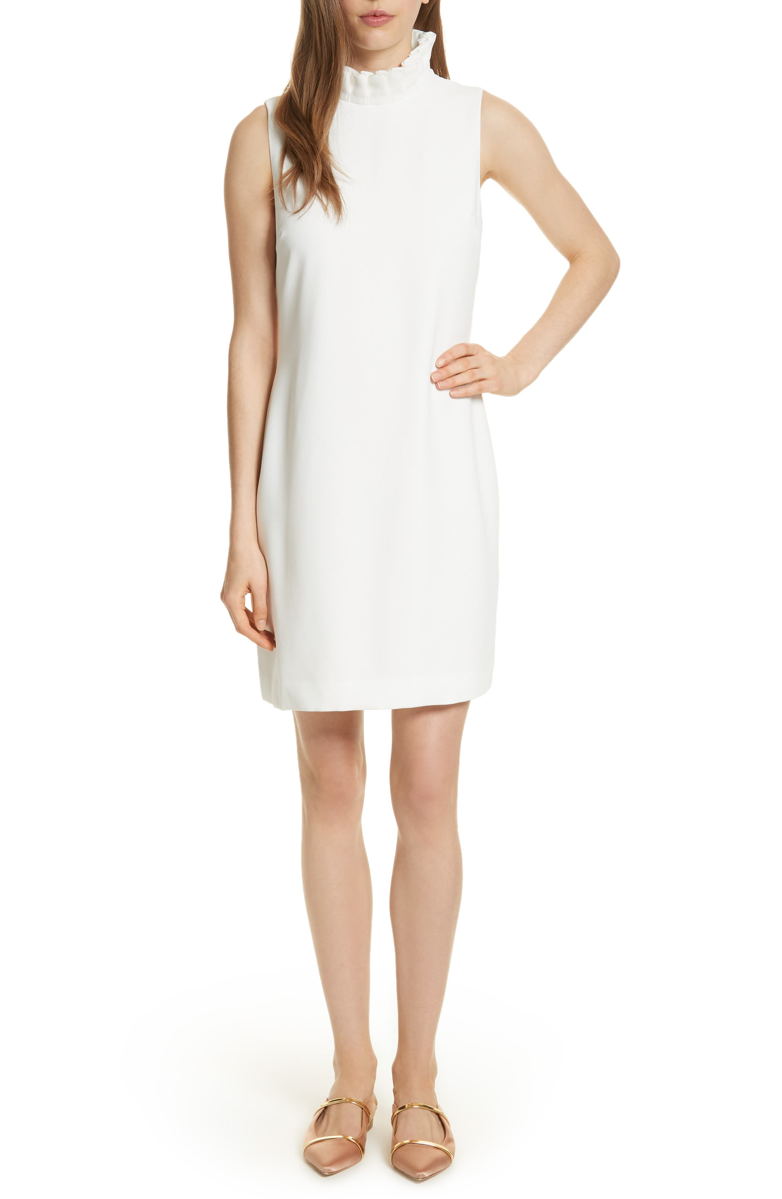 Pleat Ruffle Shift Dress,                             Main thumbnail 1, color,                             White