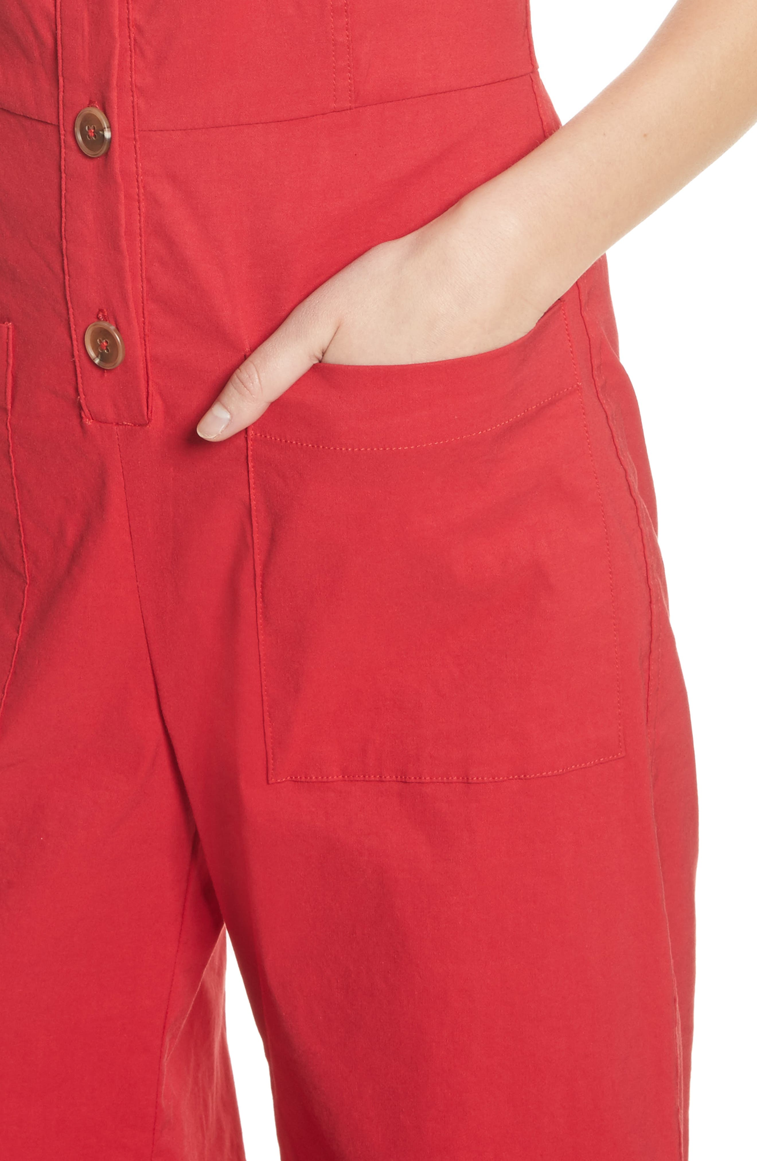 Callie Ruffle Strap Jumpsuit,                             Alternate thumbnail 4, color,                             Red