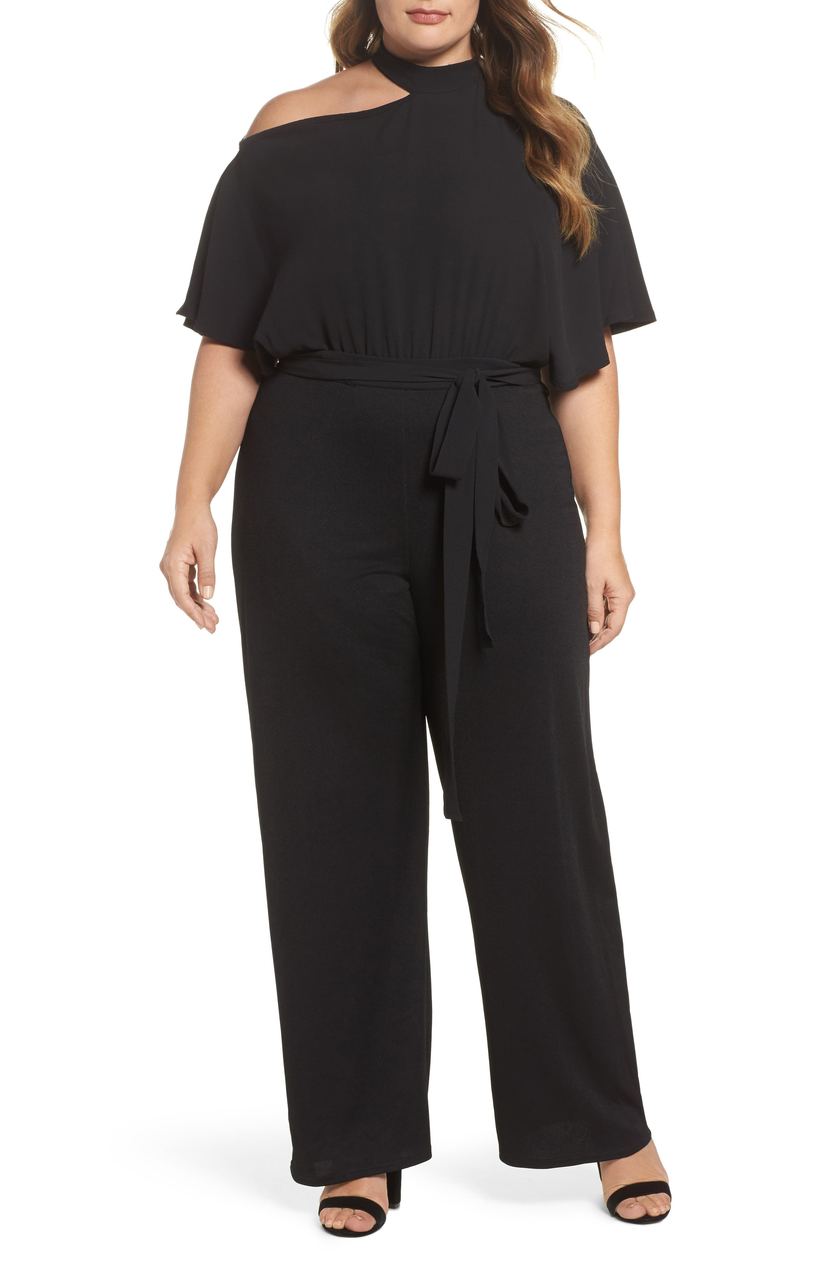 Cutout Shoulder Jumpsuit,                             Main thumbnail 1, color,                             Black