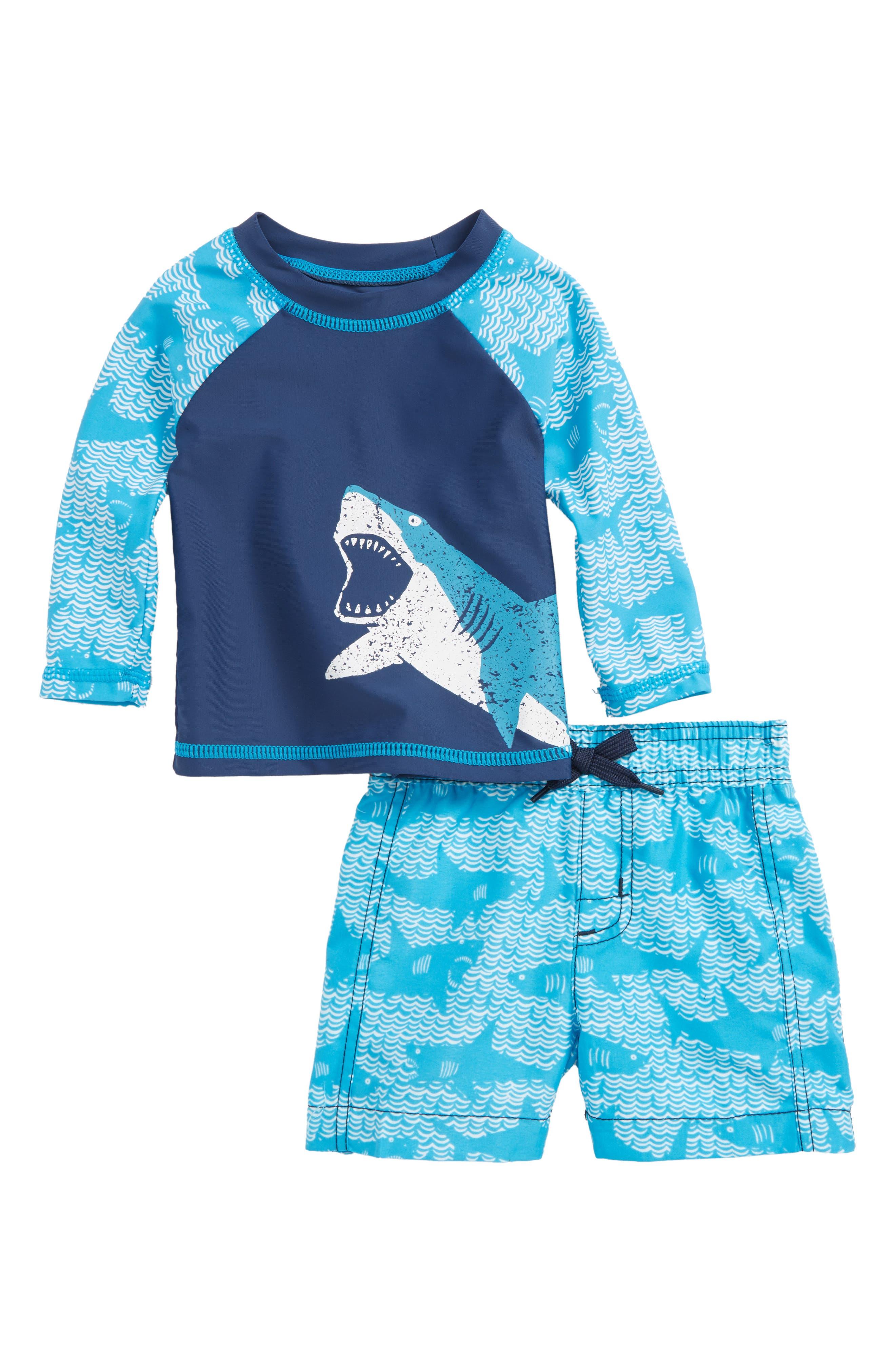 Long Sleeve Rashguard & Swim Trunks Set,                         Main,                         color, Shark Alley