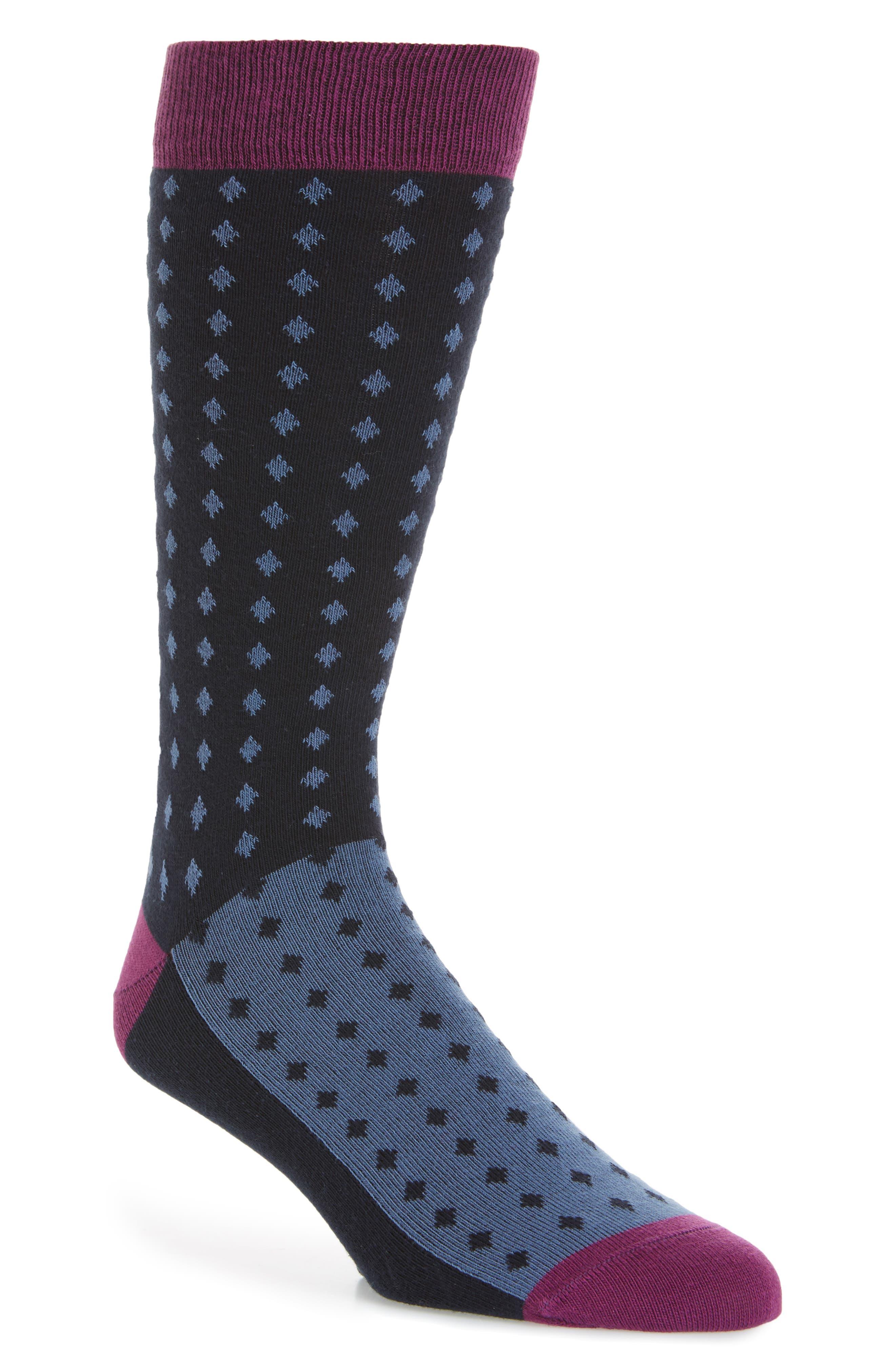 Neat Diamond Socks,                         Main,                         color, Navy
