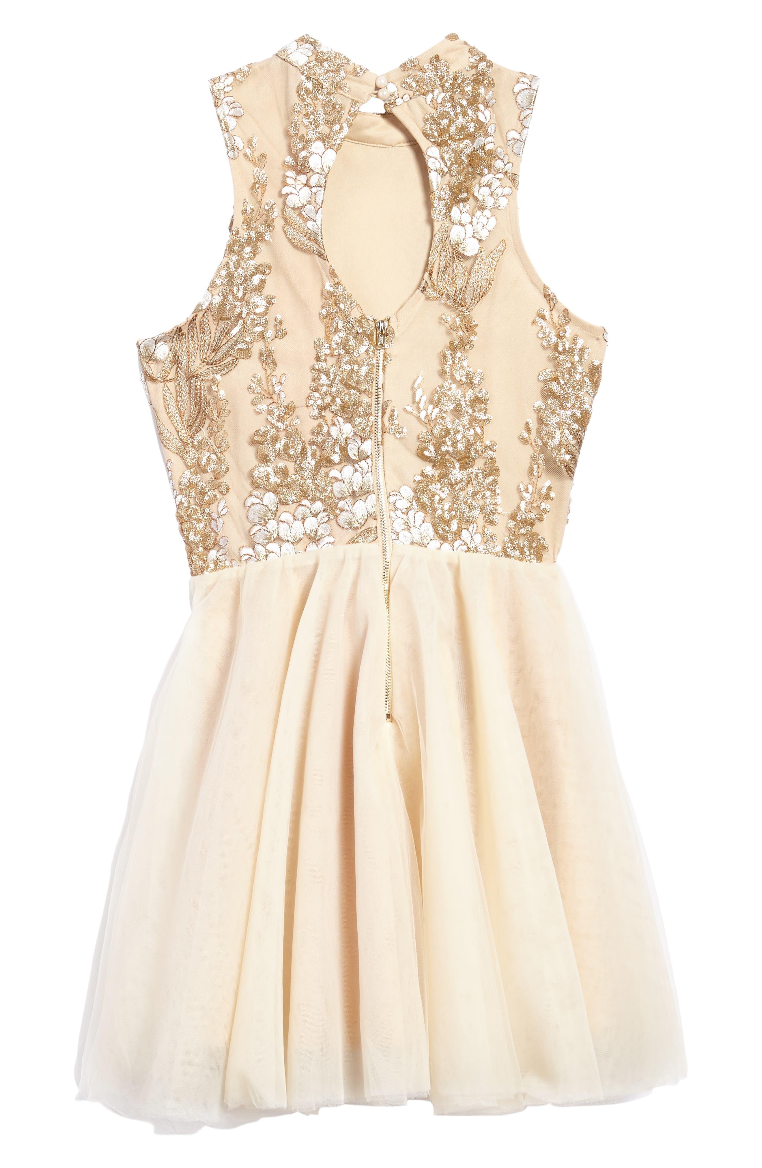 Grace Sequin Halter Dress,                             Alternate thumbnail 2, color,                             Gold