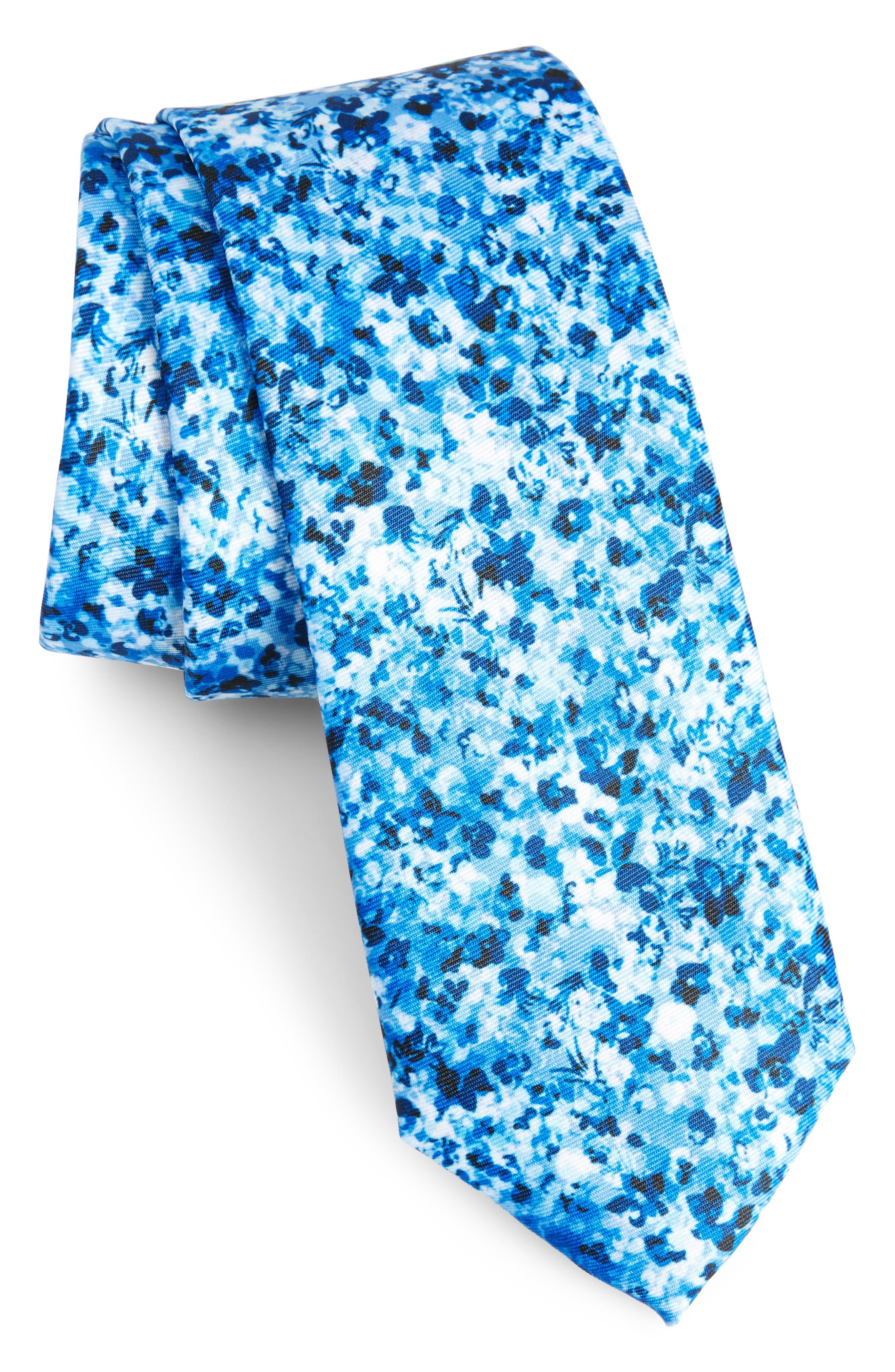Marquette Floral Skinny Tie,                         Main,                         color, Blue