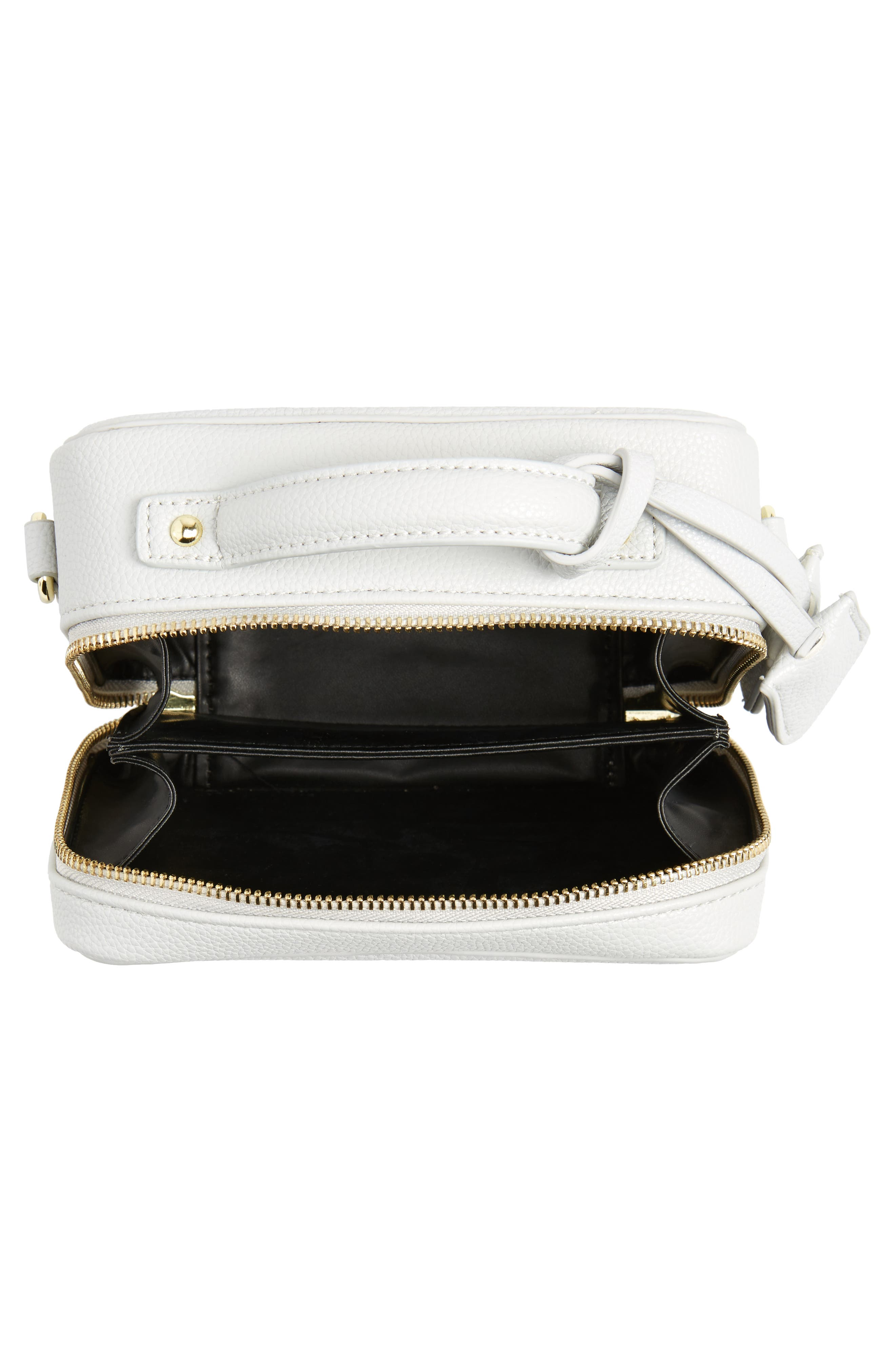 Taylor Faux Leather Crossbody Bag,                             Alternate thumbnail 4, color,                             Light Grey