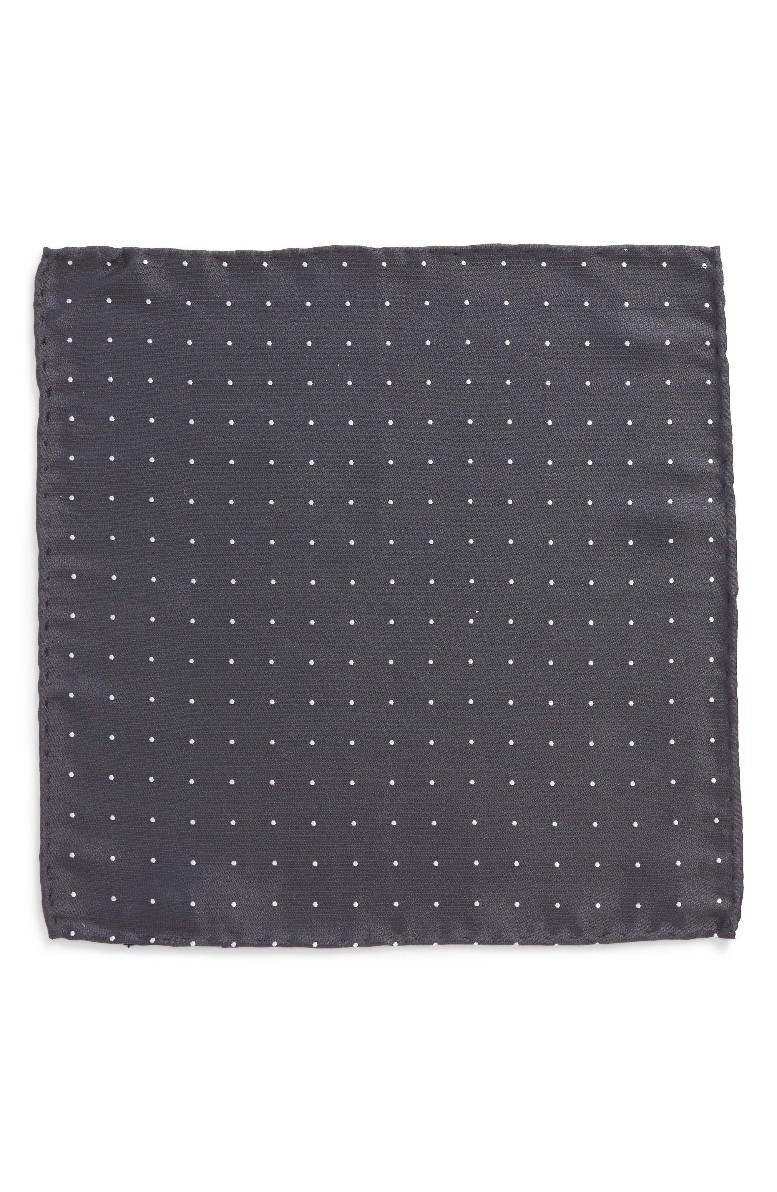 Dot Silk Pocket Square,                             Alternate thumbnail 2, color,                             Charcoal