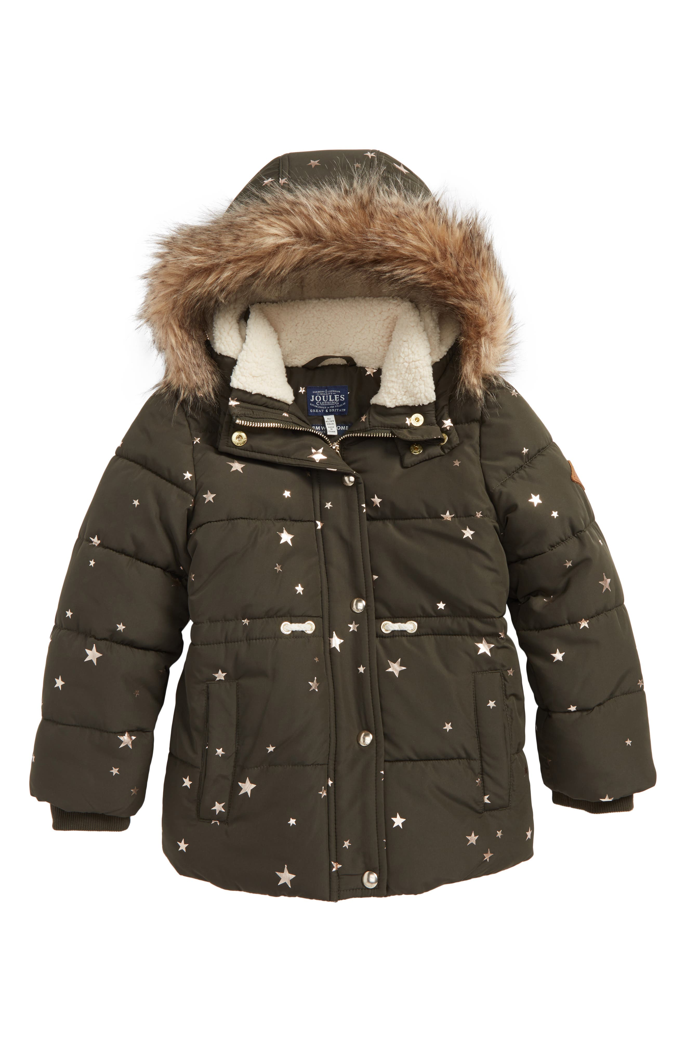 Main Image - Joules Stella Hooded Puffer Jacket (Toddler Girls, Little Girls & Big Girls)