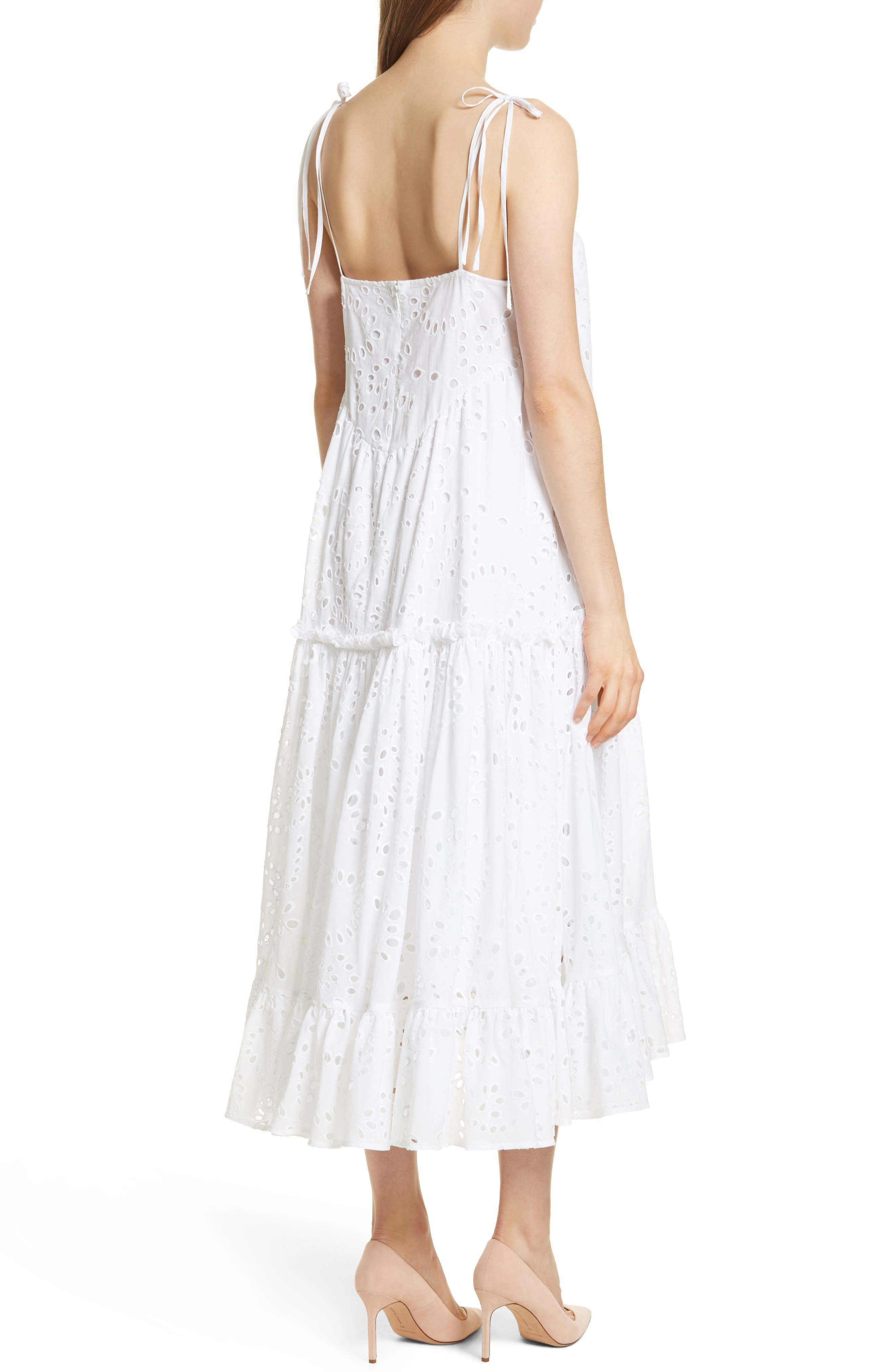 Prose & Poetry Kerr Eyelet Peasant Midi Dress,                             Alternate thumbnail 2, color,                             Cloud White