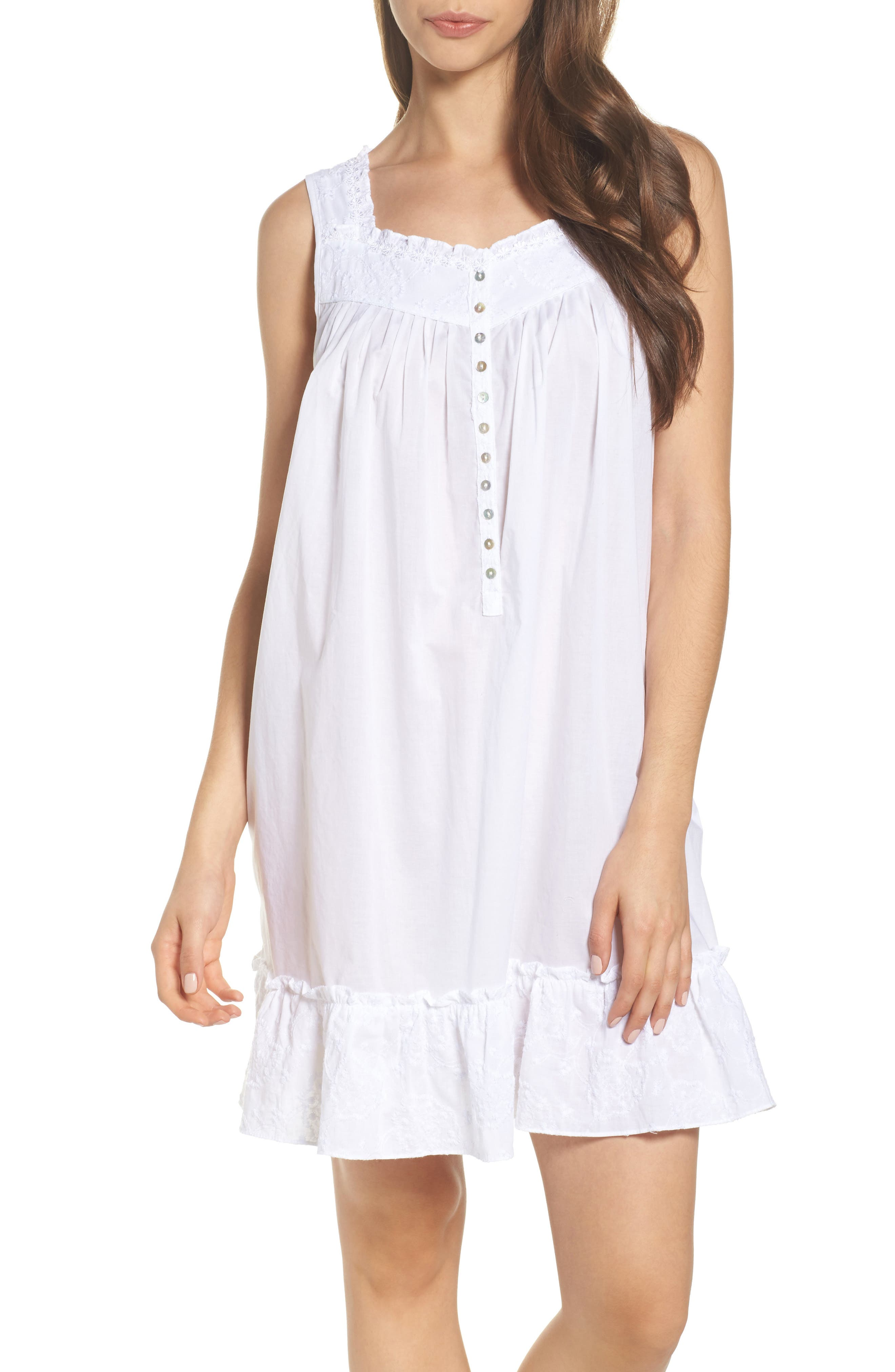 Embroidered Cotton Nightgown,                         Main,                         color, White Floral Embroidery
