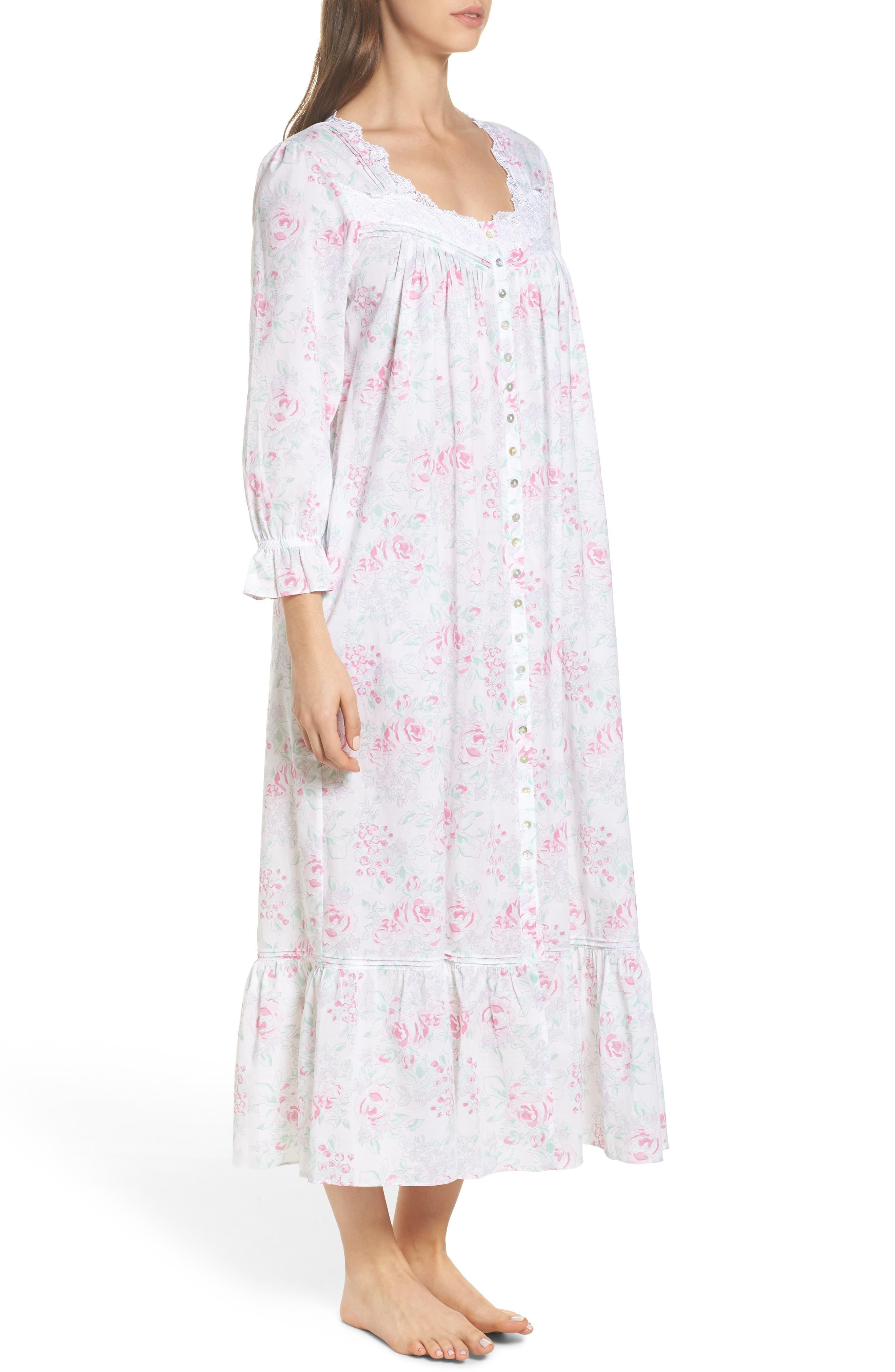 Alternate Image 3  - Eileen West Button Front Cotton Nightgown
