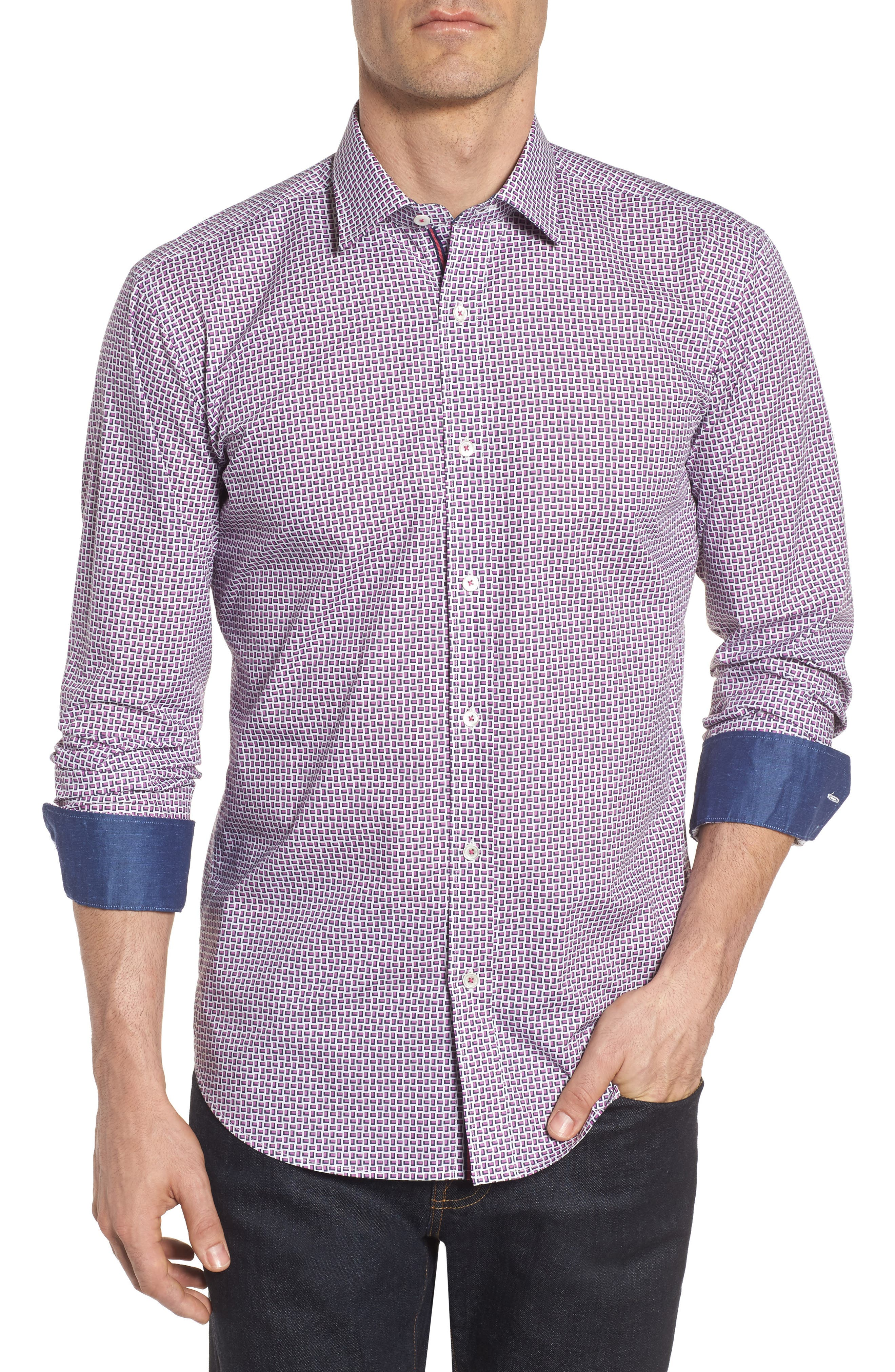 Shaped Fit Print Sport Shirt,                         Main,                         color, Pink