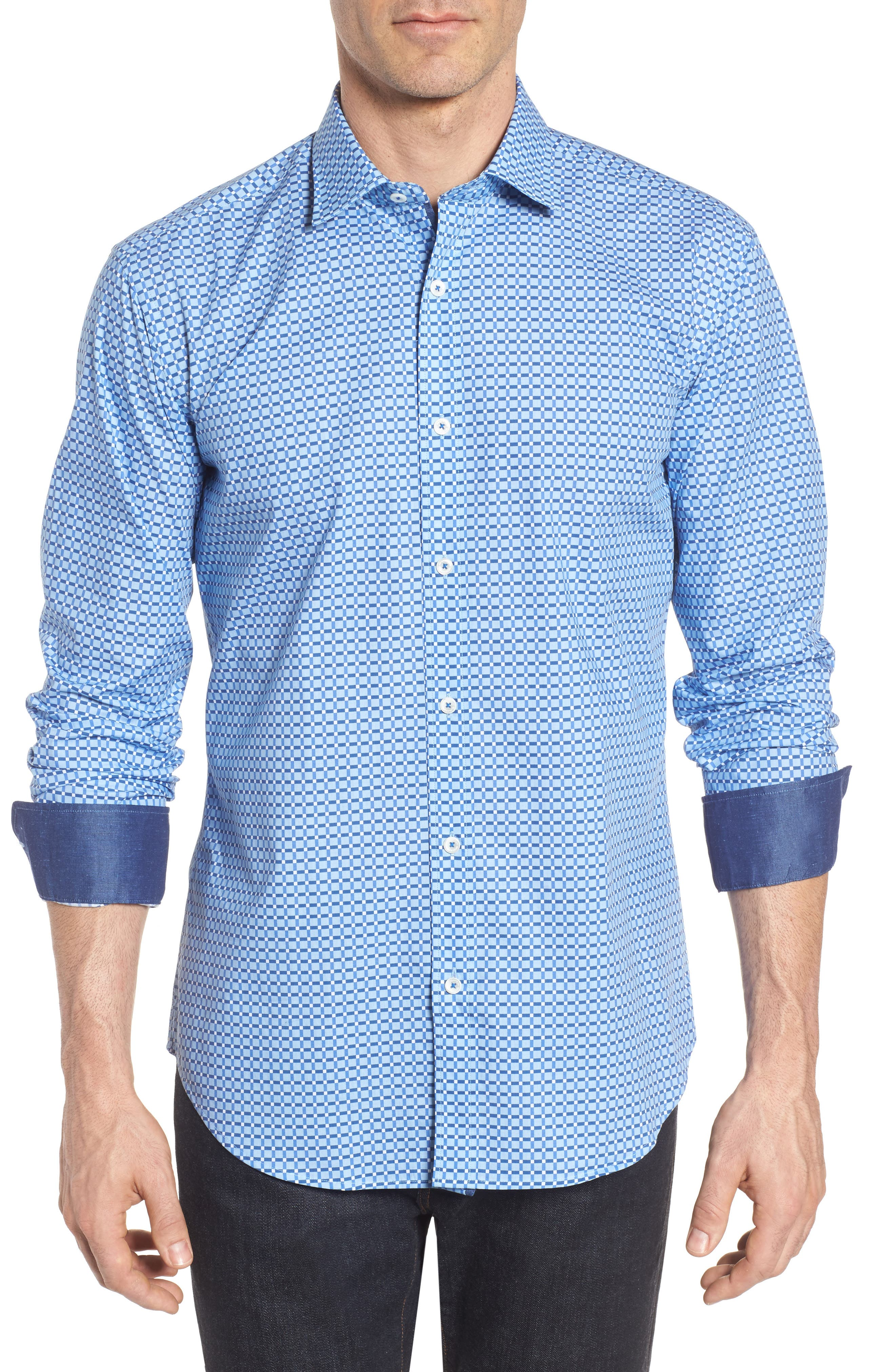 Shaped Fit Print Sport Shirt,                         Main,                         color, Air Blue