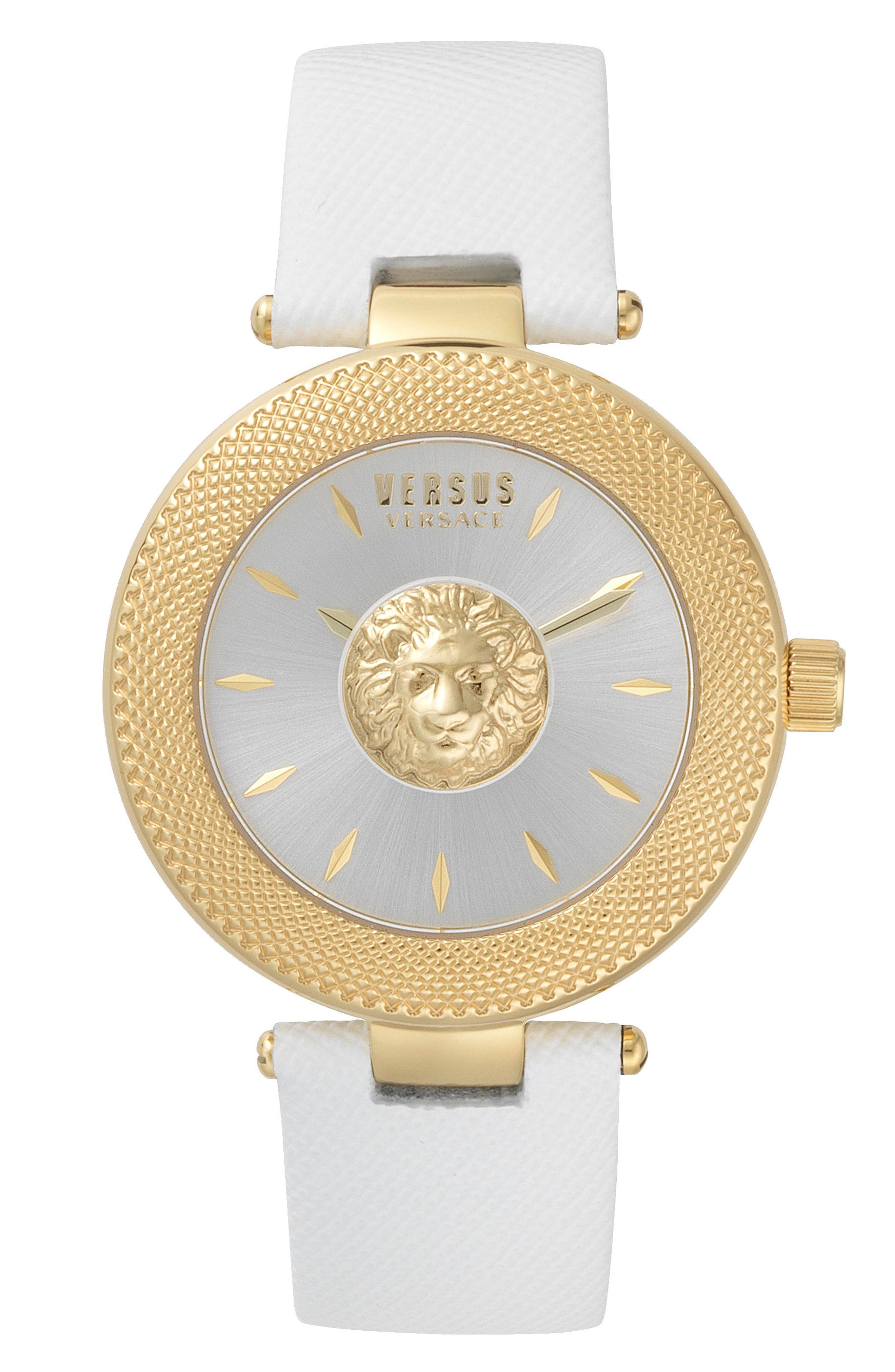 VERSUS by Versace Brick Lane Leather Strap Watch, 40mm,                             Main thumbnail 1, color,                             White/ Gold