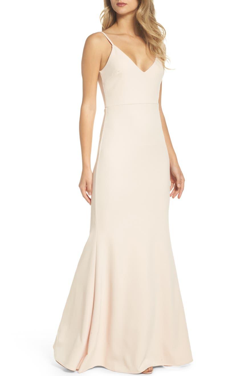 Bridesmaid wedding party dresses nordstrom lulus v neck trumpet gown black blush burgundy emerald white ombrellifo Gallery