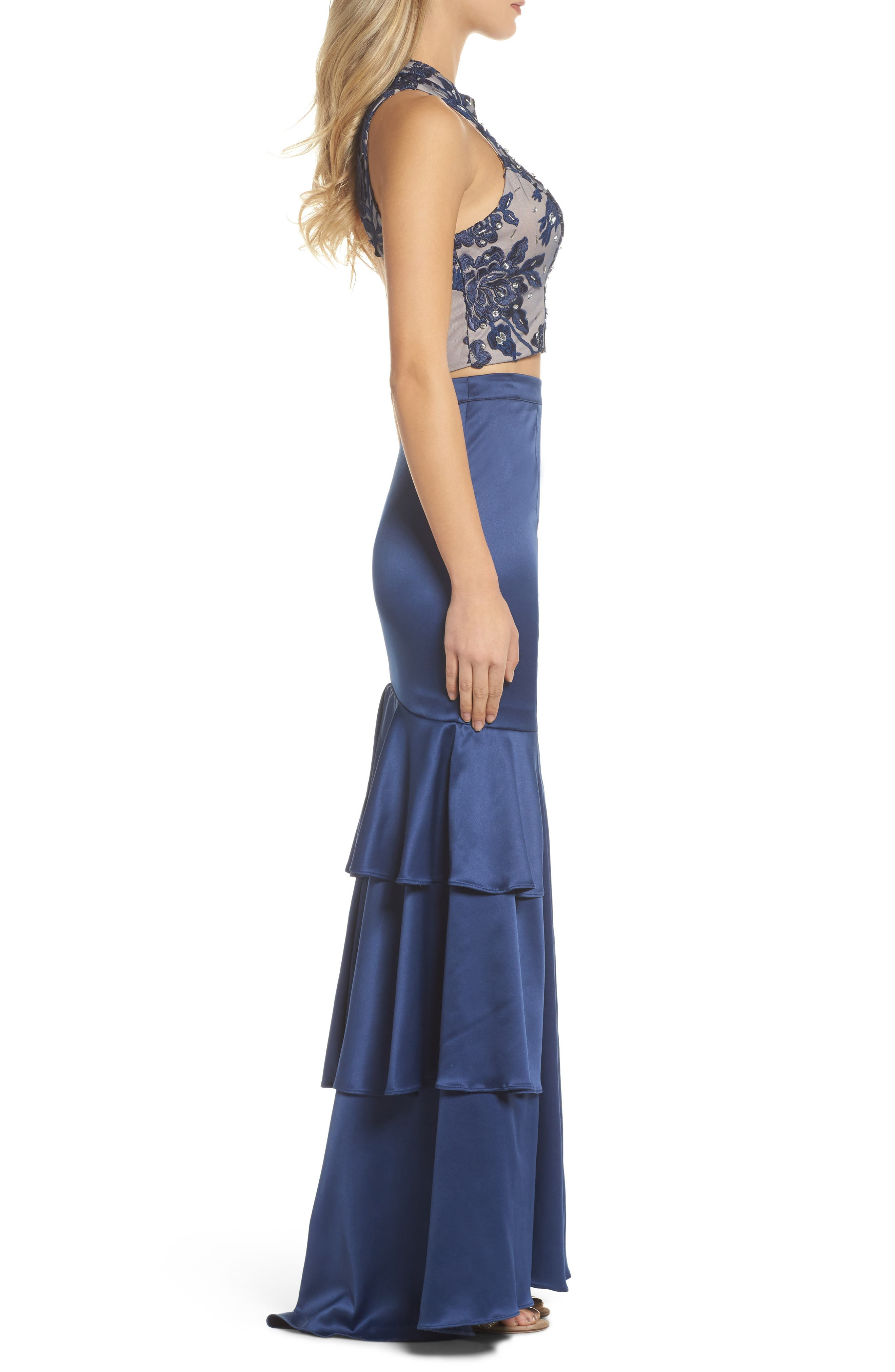 Beaded Lace & Satin Two-Piece Gown,                             Alternate thumbnail 3, color,                             Navy/ Mauve