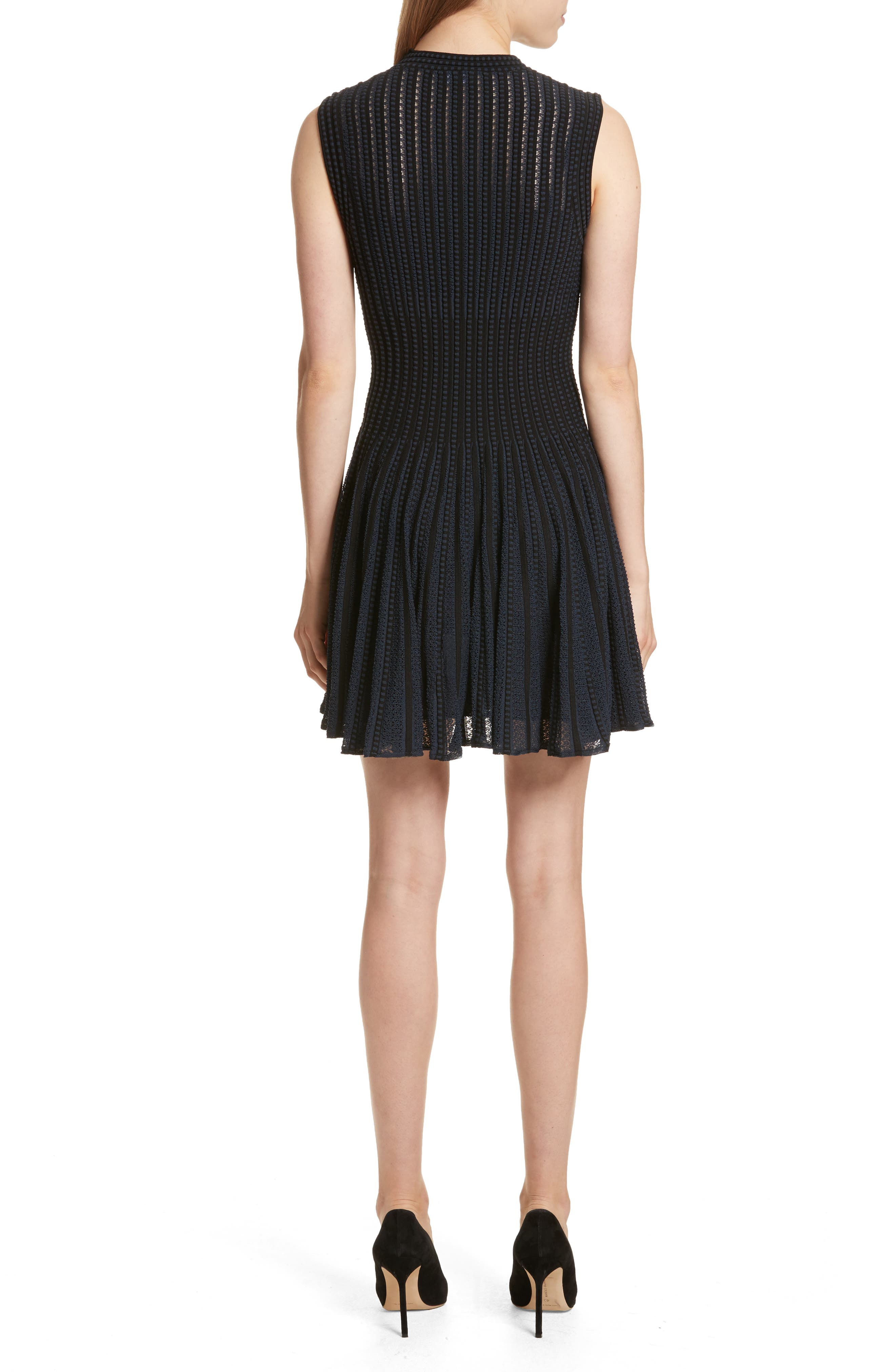 Check Knit Fit & Flare Dress,                             Alternate thumbnail 2, color,                             Black/ Deep Navy