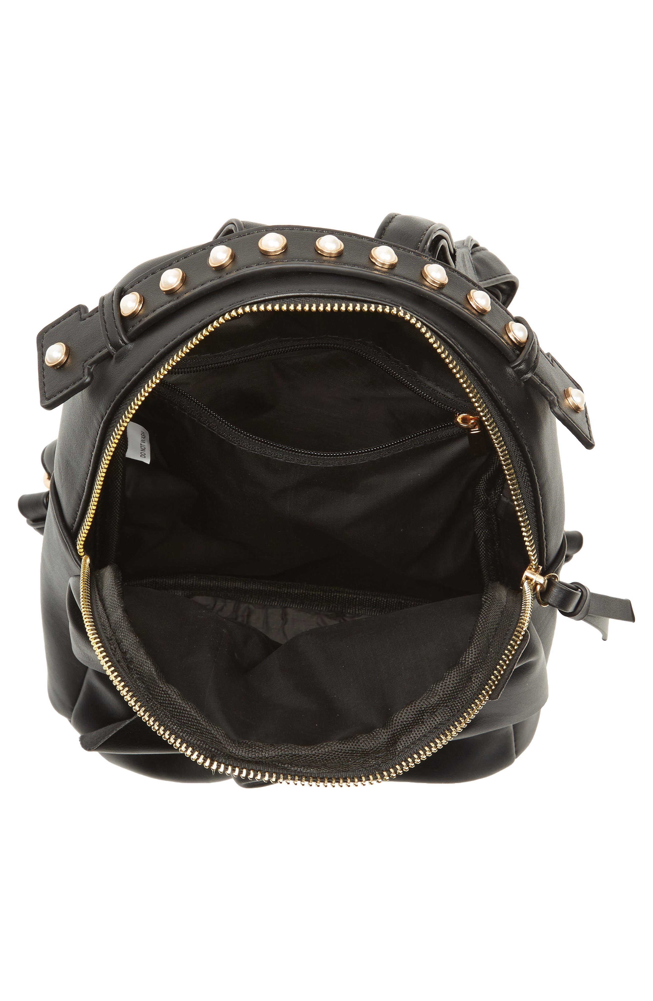 Imitation Pearl Handle Bow Mini Backpack,                             Alternate thumbnail 4, color,                             Black
