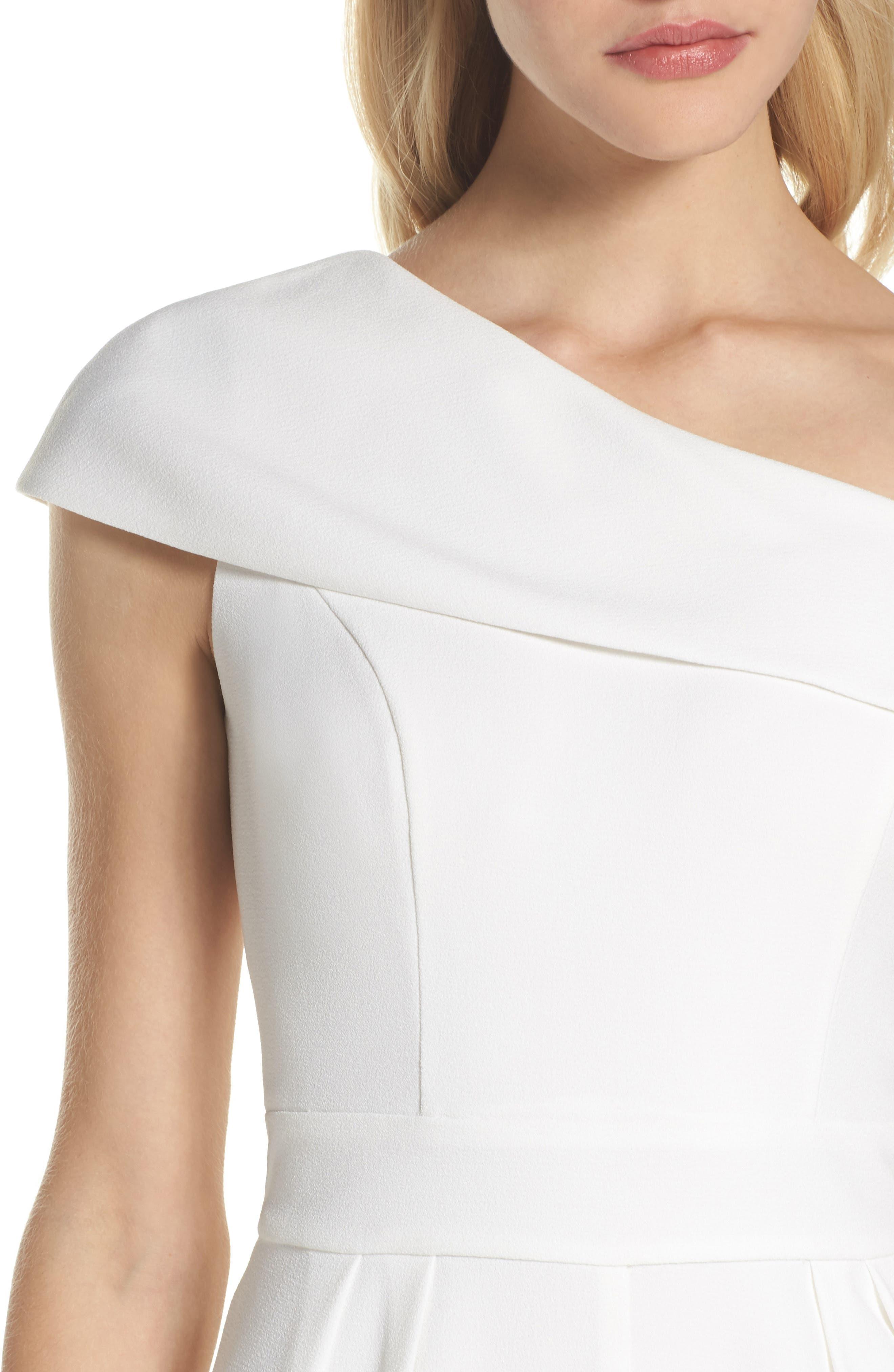 One-Shoulder Crepe Jumpsuit,                             Alternate thumbnail 4, color,                             Ivy