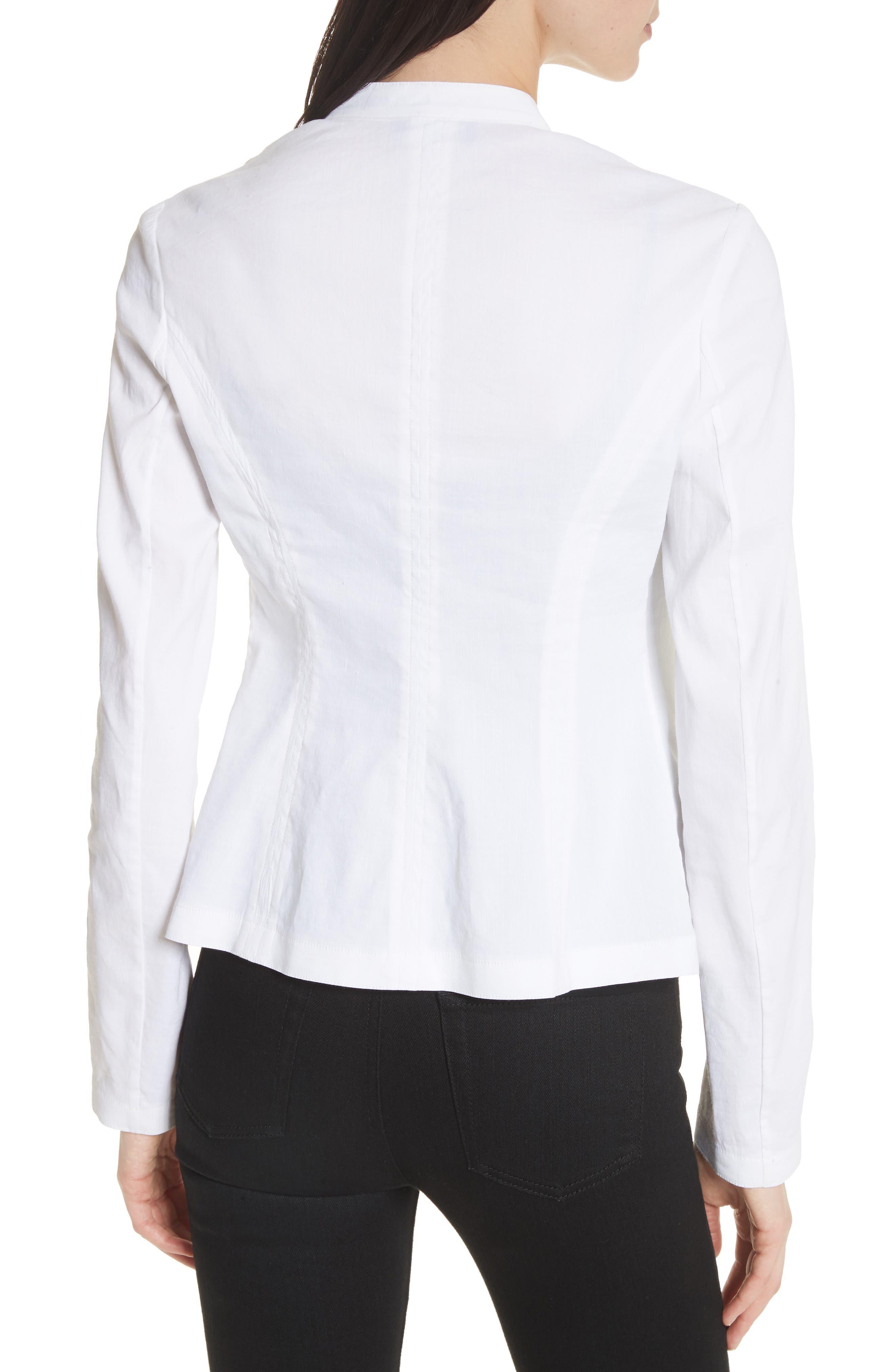 Clean Linen Blend Blazer,                             Alternate thumbnail 2, color,                             White