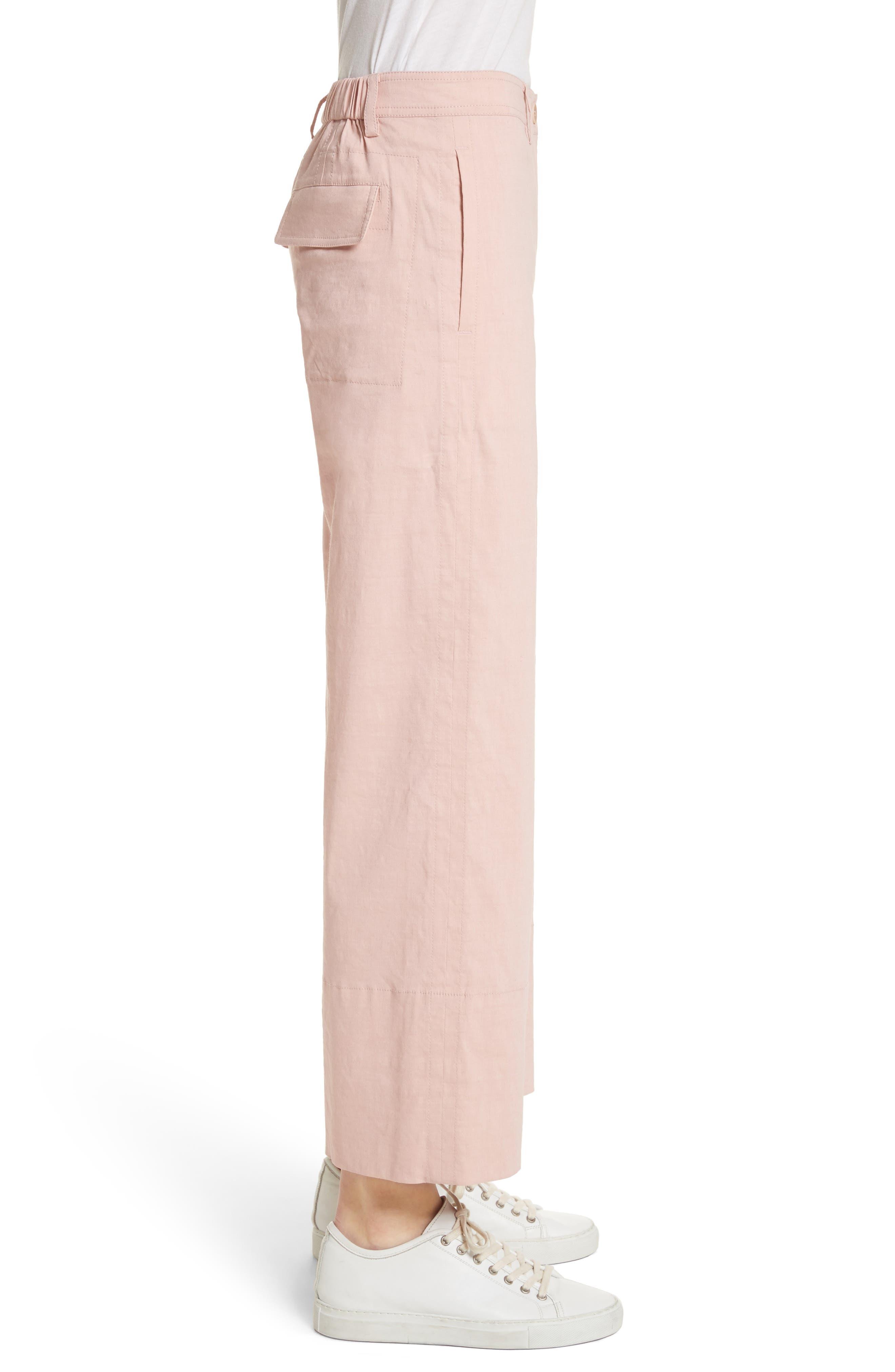 Fluid Wide Leg Crop Pants,                             Alternate thumbnail 3, color,                             Pink Ballet