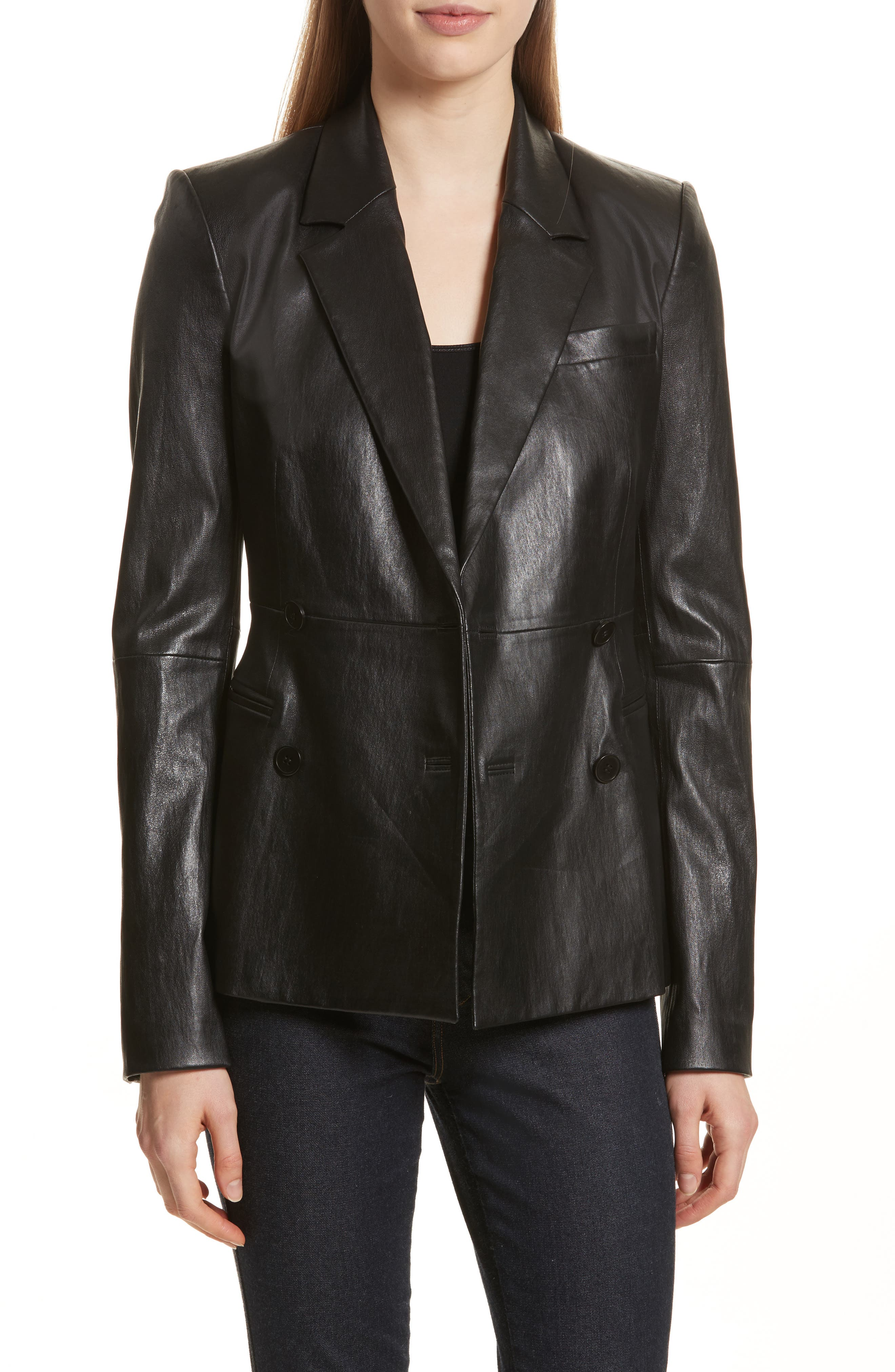 Bristol Leather Blazer,                             Main thumbnail 1, color,                             Black