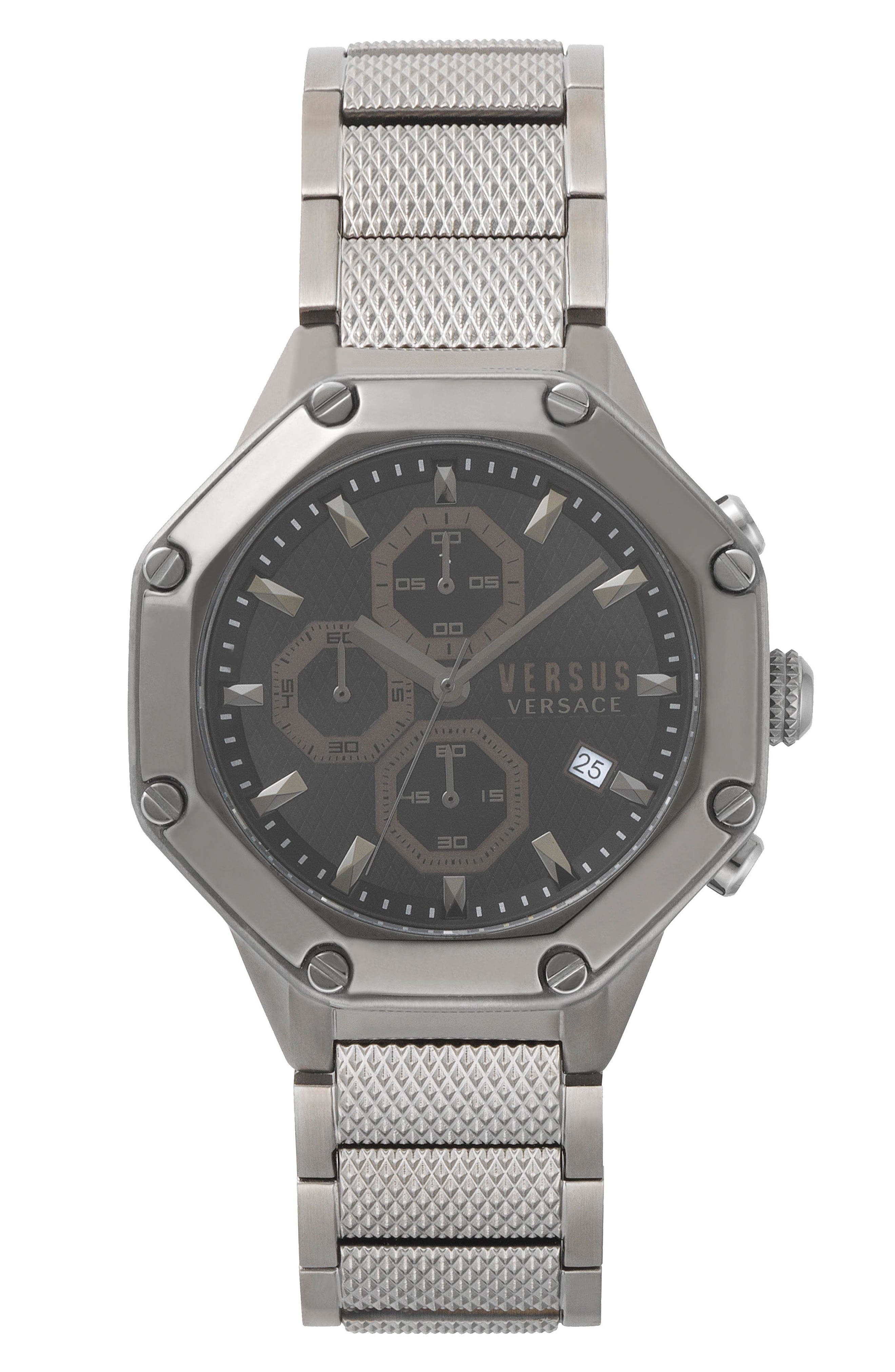 VERSUS by Versace Kowloon Chronograph Bracelet Watch, 45mm,                             Main thumbnail 1, color,                             Gunmetal/ Black/ Gunmetal