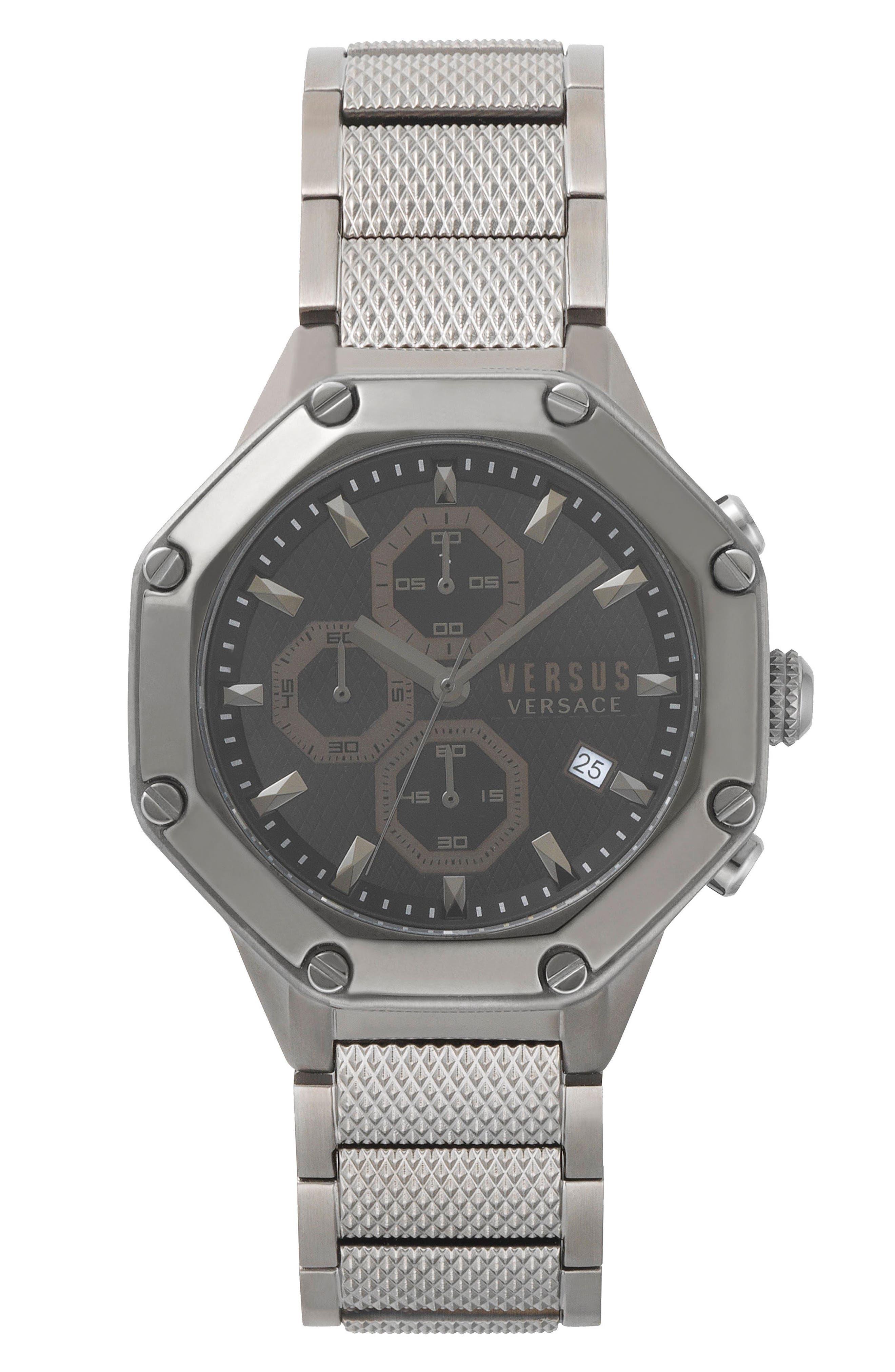 VERSUS by Versace Kowloon Chronograph Bracelet Watch, 45mm,                         Main,                         color, Gunmetal/ Black/ Gunmetal
